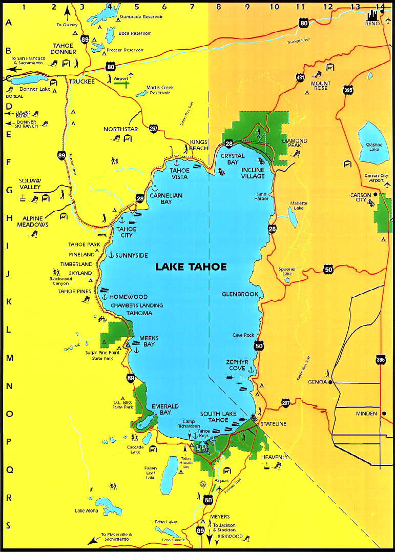 Lake Tahoe Area Maps | Detailed Lake Tahoe Area Mapregion - Tahoe City California Map