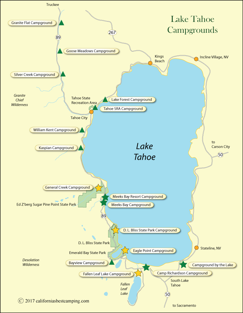 Lake Tahoe Campground Map - California - California Camping Map