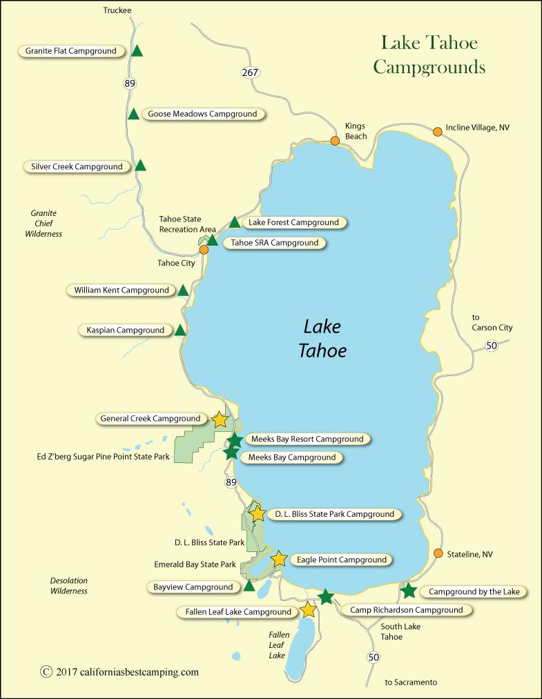 Lake Tahoe Campground Map - California - California Camping Sites Map