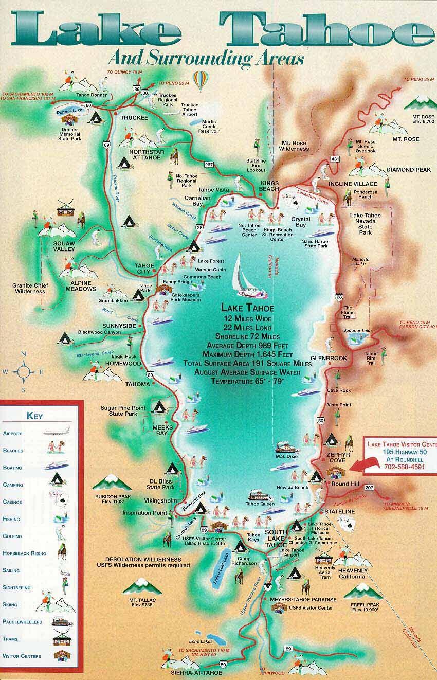 Lake Tahoe Map | California ~ Things To Do | Pinterest | Lake Tahoe - Map Of Lake Tahoe Area California