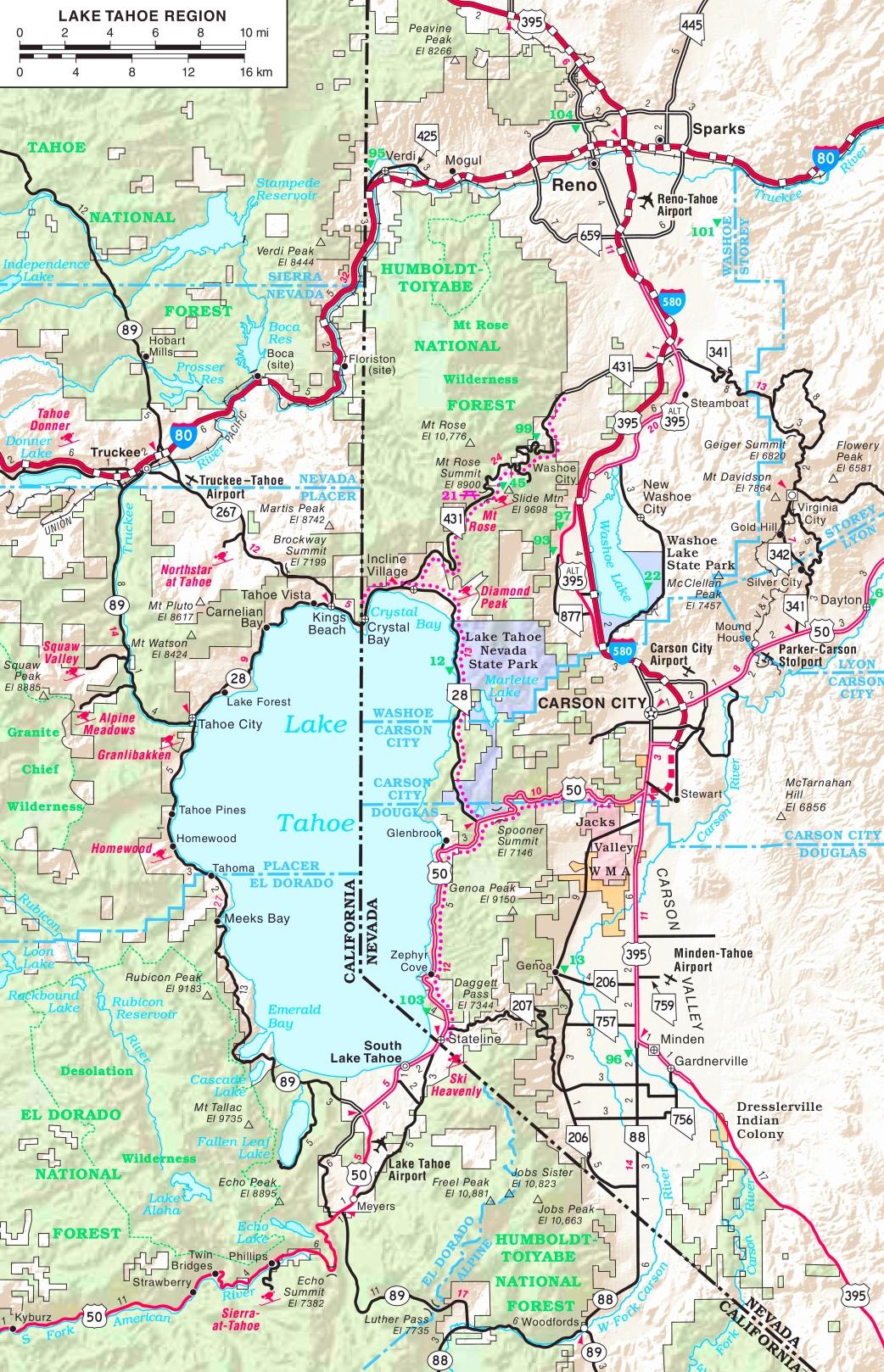 Lake Tahoe Road Map - Printable Map Of Lake Tahoe