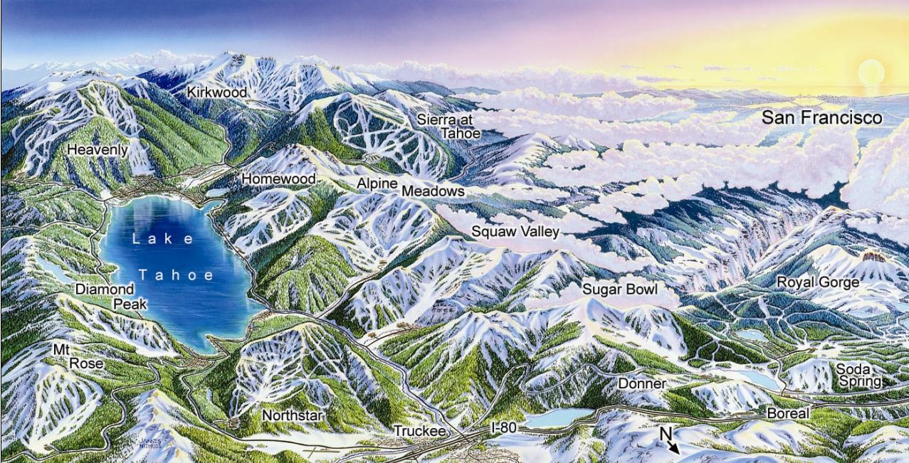 Lake Tahoe Ski Resort Map - Lake Tahoe Ca • Mappery - Map Of Lake Tahoe Area California