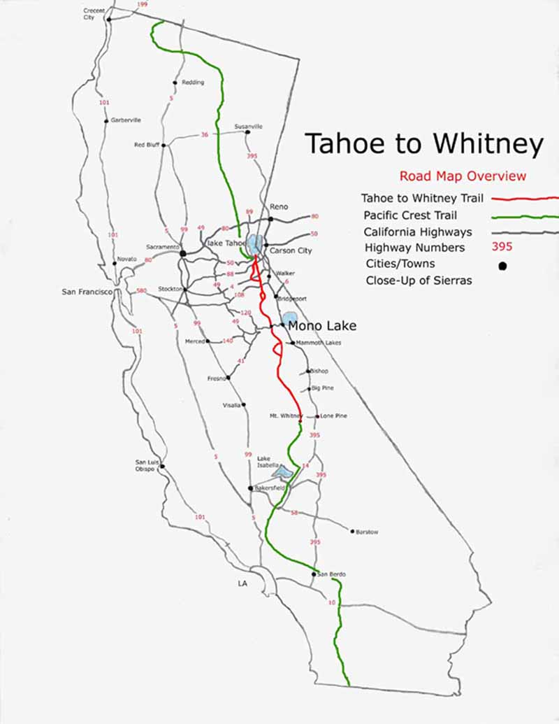 Lake Tahoe To Mount Whitney On A Map - Tahoe City California Map