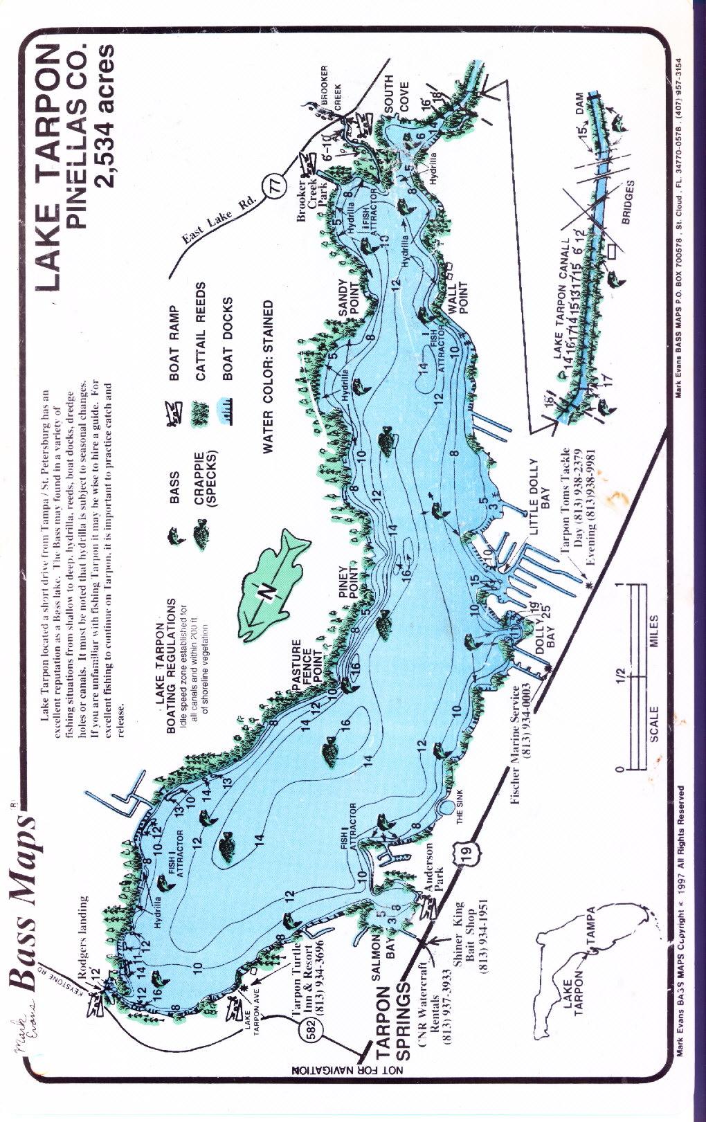 Lake Tarpon Maps - Florida Fishing Lakes Map