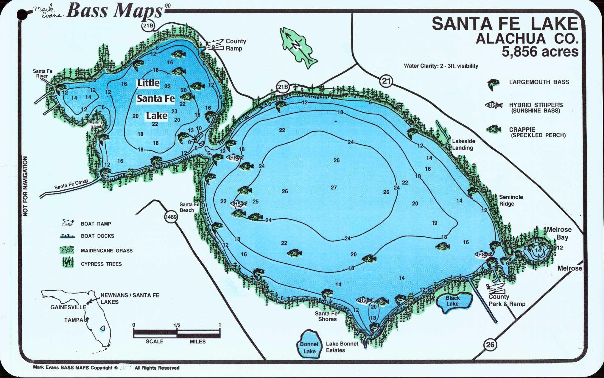 Lakes Newnan's / Sante Fe (2 Sided Map) - Mark Evans Maps - Florida Fishing Lakes Map