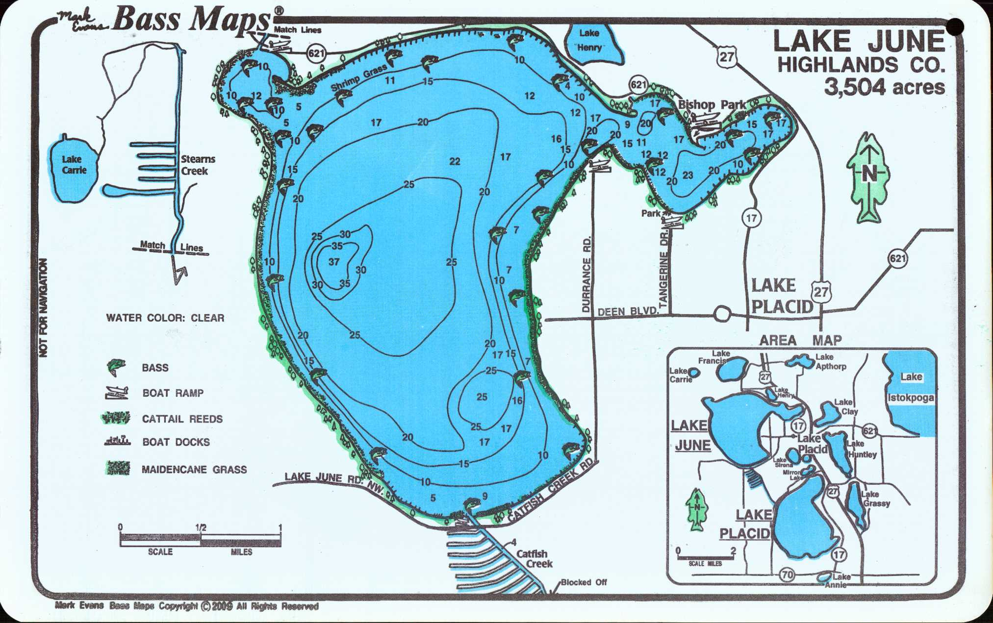 Lakes Placid / June Bass Map (2-Sided Map) - Mark Evans Maps - Florida Fishing Lakes Map