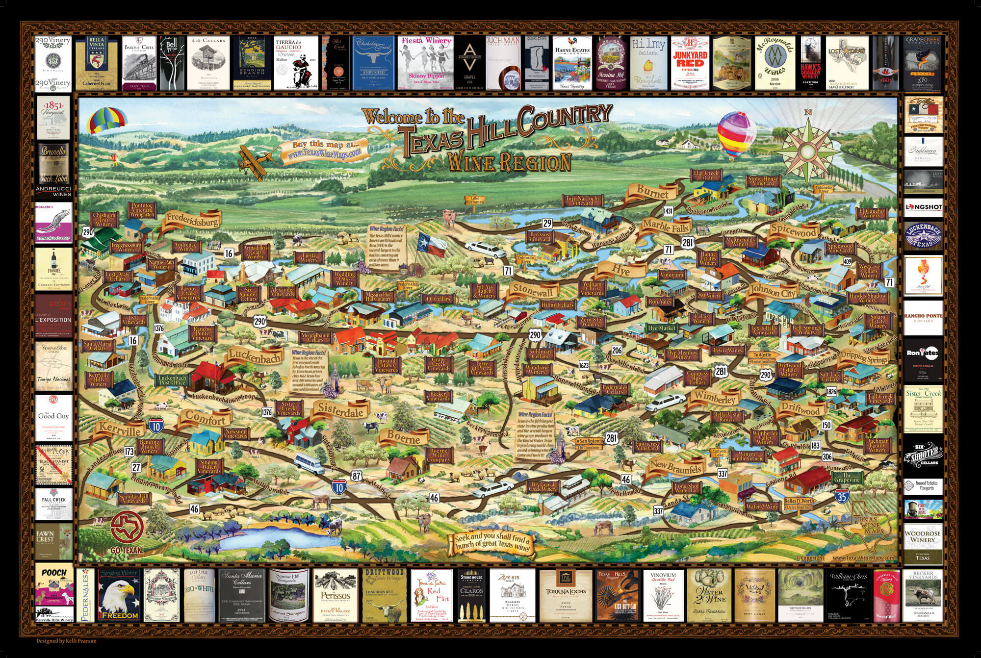 Laminated Texas Wine Map | Texas Wineries Map |Texas Hill Country - Texas Wine Country Map
