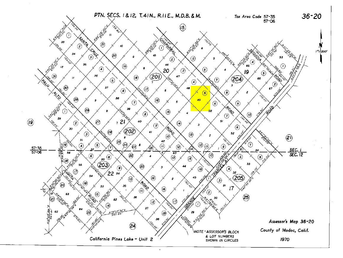 Land Rush Now | Plat Map-Chaparral Rd. California Pines - California Pines Parcel Map