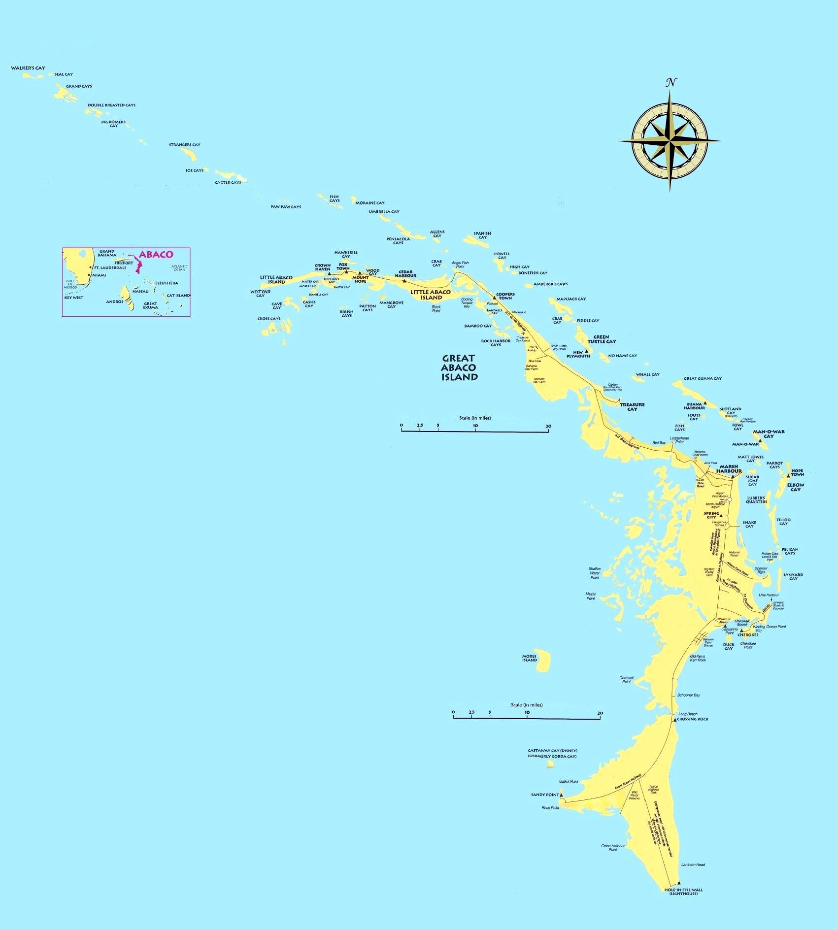 Large Abaco Maps For Free Download And Print   High-Resolution And - Map Of Florida And Freeport Bahamas