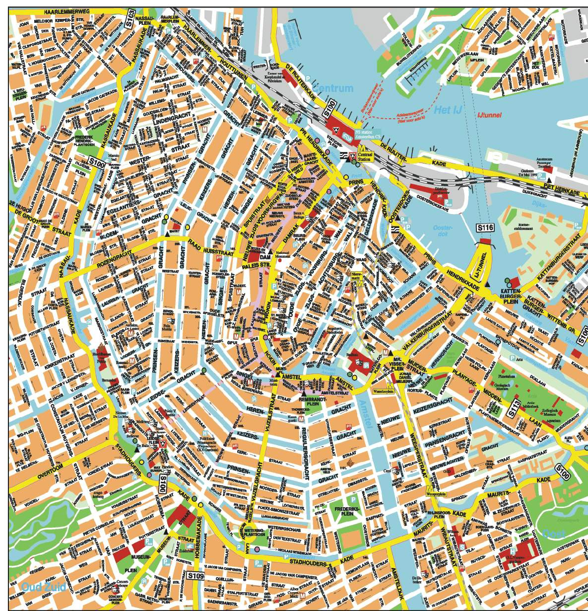 Large Amsterdam Maps For Free Download And Print | High-Resolution - Printable Tourist Map Of Amsterdam