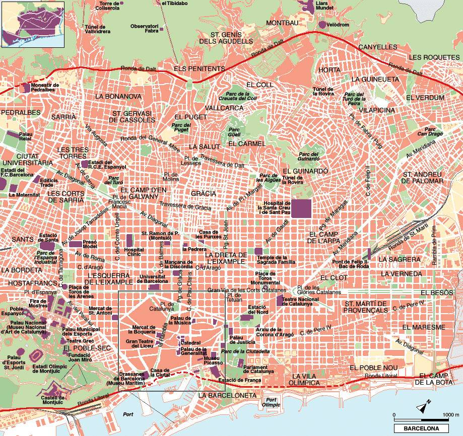 Large Barcelona Maps For Free Download And Print   High-Resolution - Barcelona City Map Printable