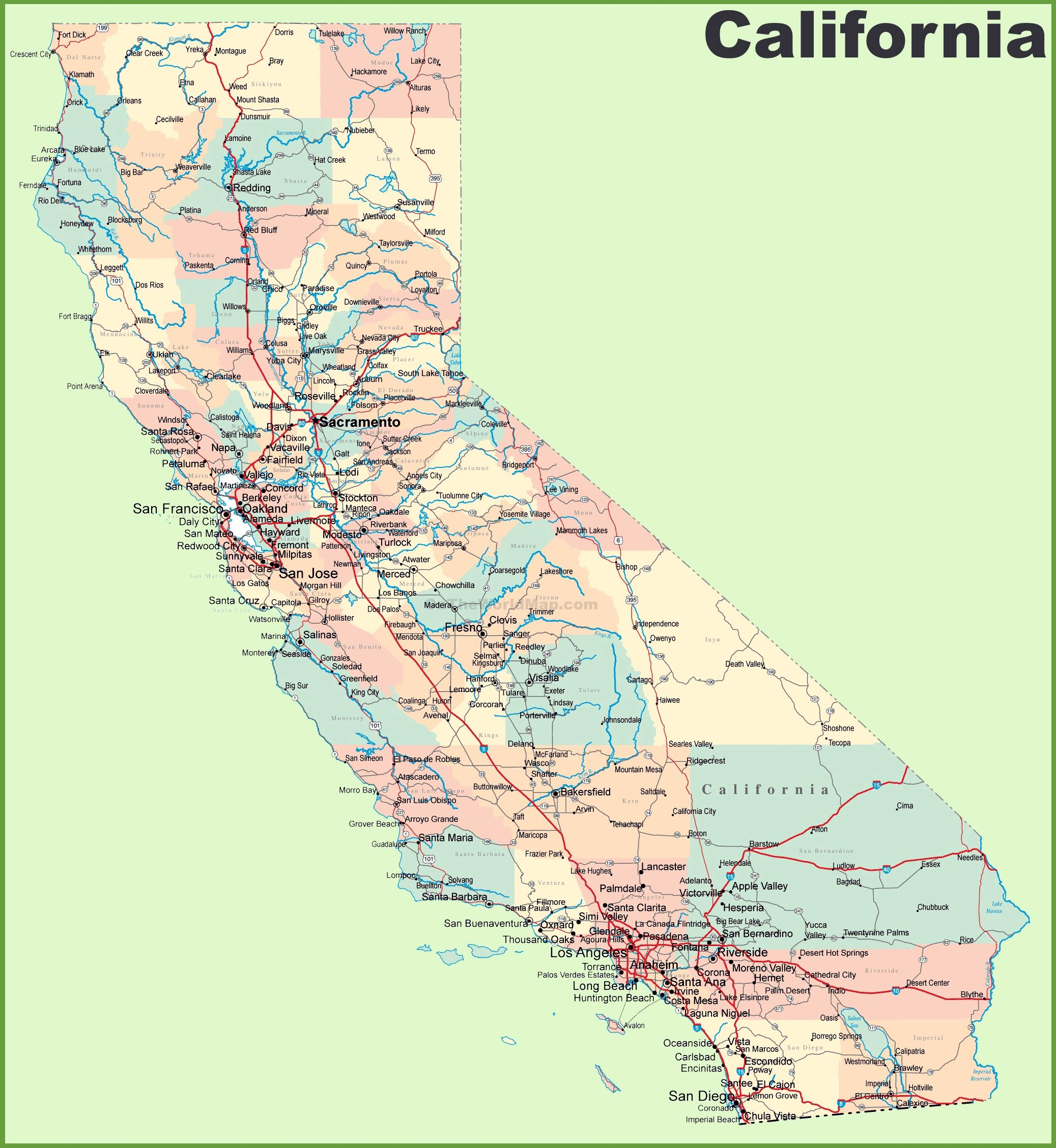 Large California Maps For Free Download And Print | High-Resolution - Show Map Of California Counties