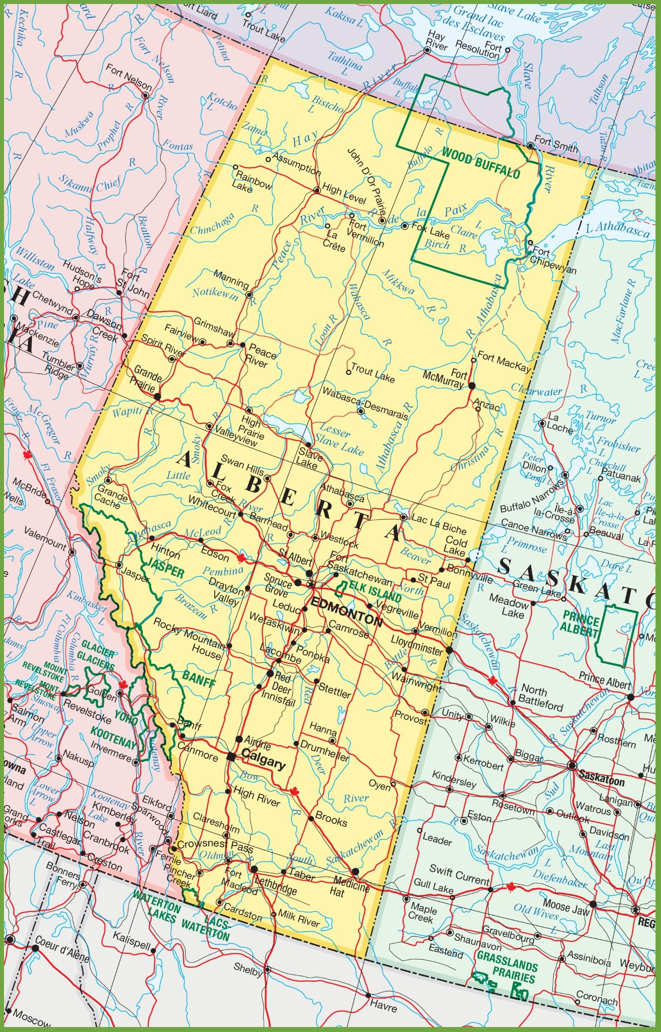 Large Detailed Map Of Alberta With Cities And Towns - Printable Road Map Of Canada