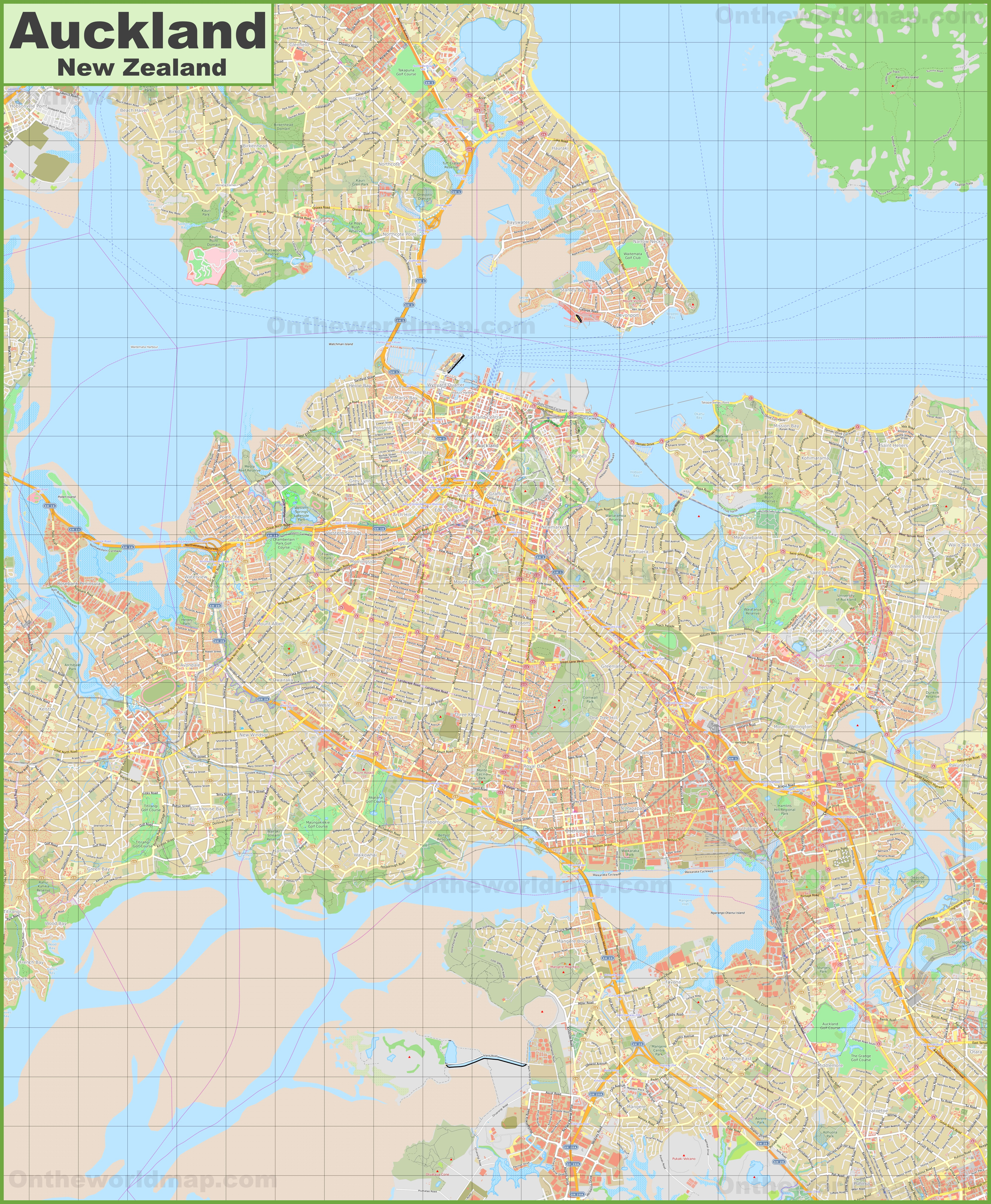 Large Detailed Map Of Auckland - Printable Map Of Auckland