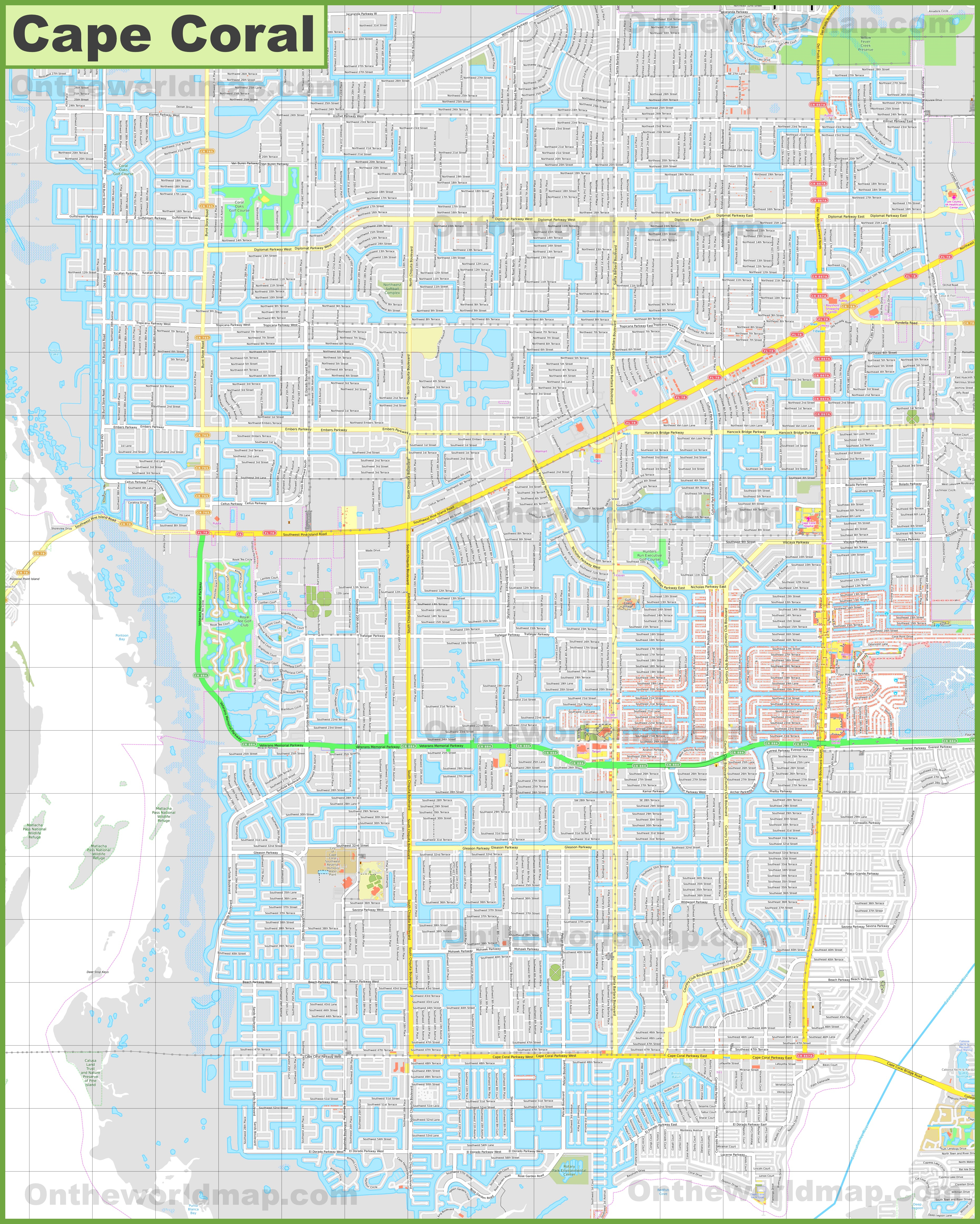 Large Detailed Map Of Cape Coral - Street Map Of Cape Coral Florida
