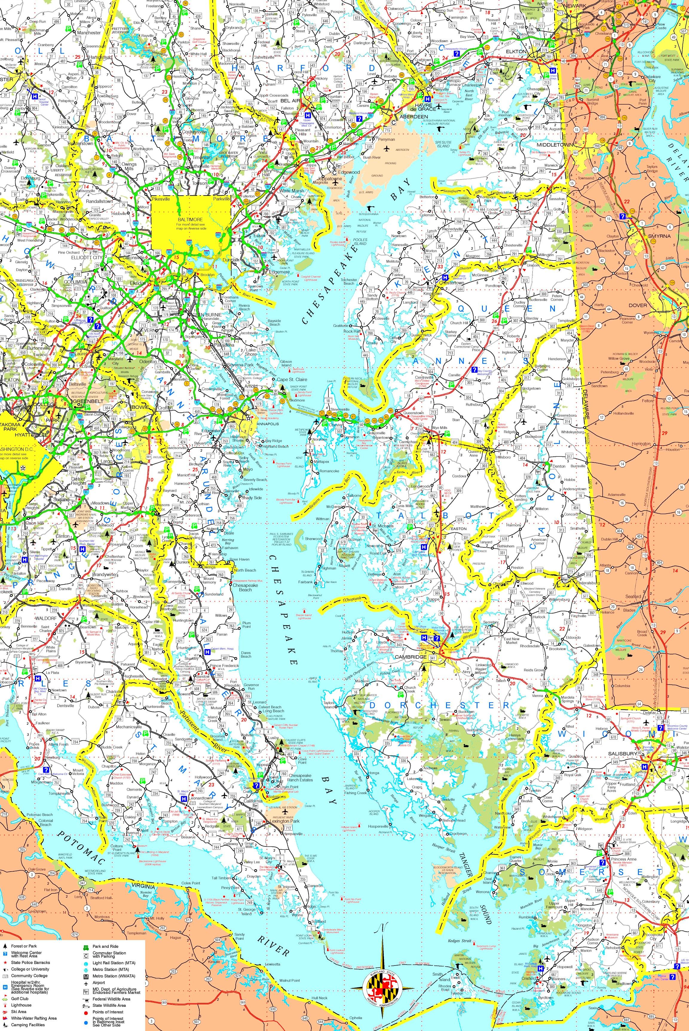 Large Detailed Map Of Chesapeake Bay - Printable Map Of Chesapeake Bay