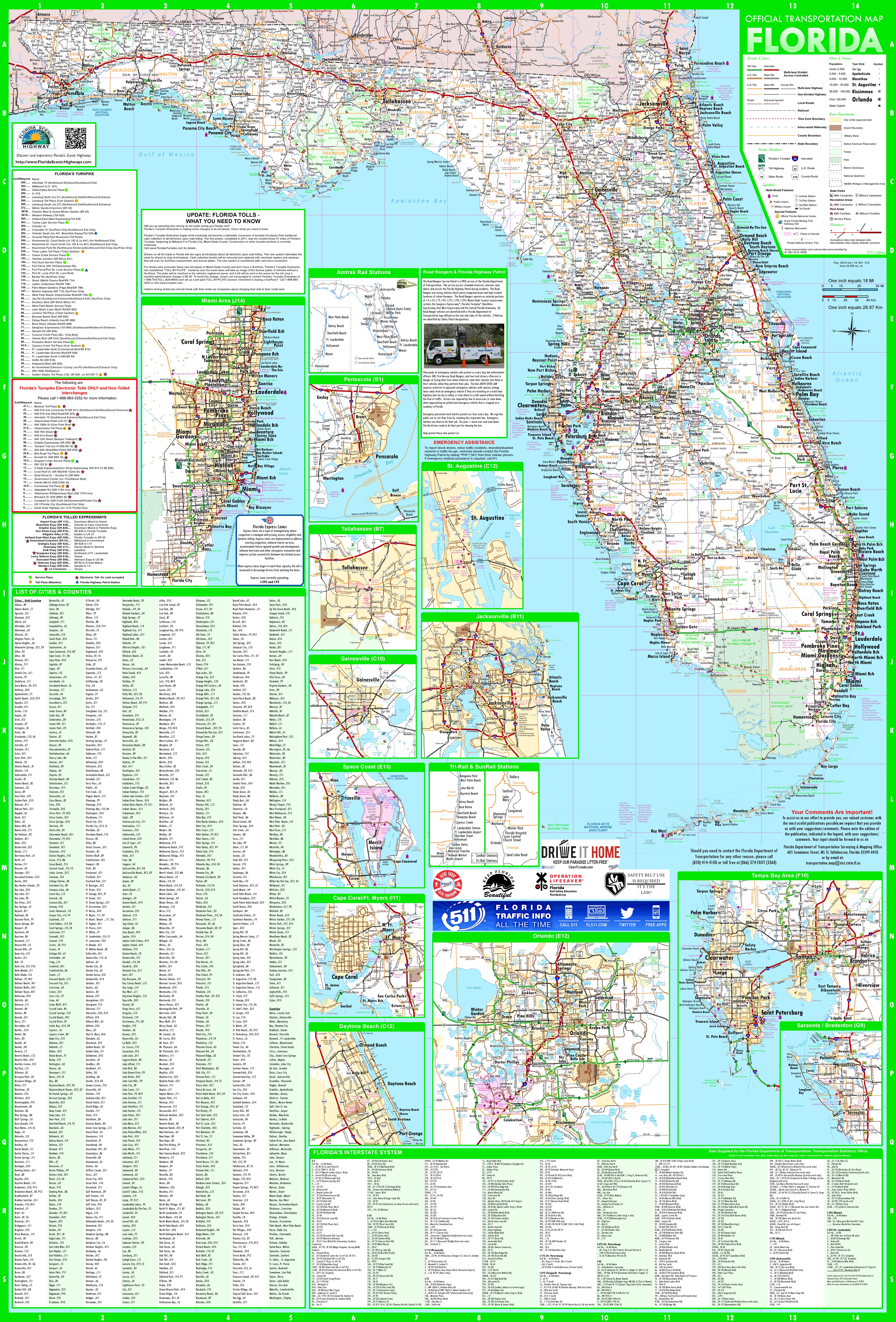 Large Detailed Map Of Florida With Cities And Towns - Florida Rest Areas Map