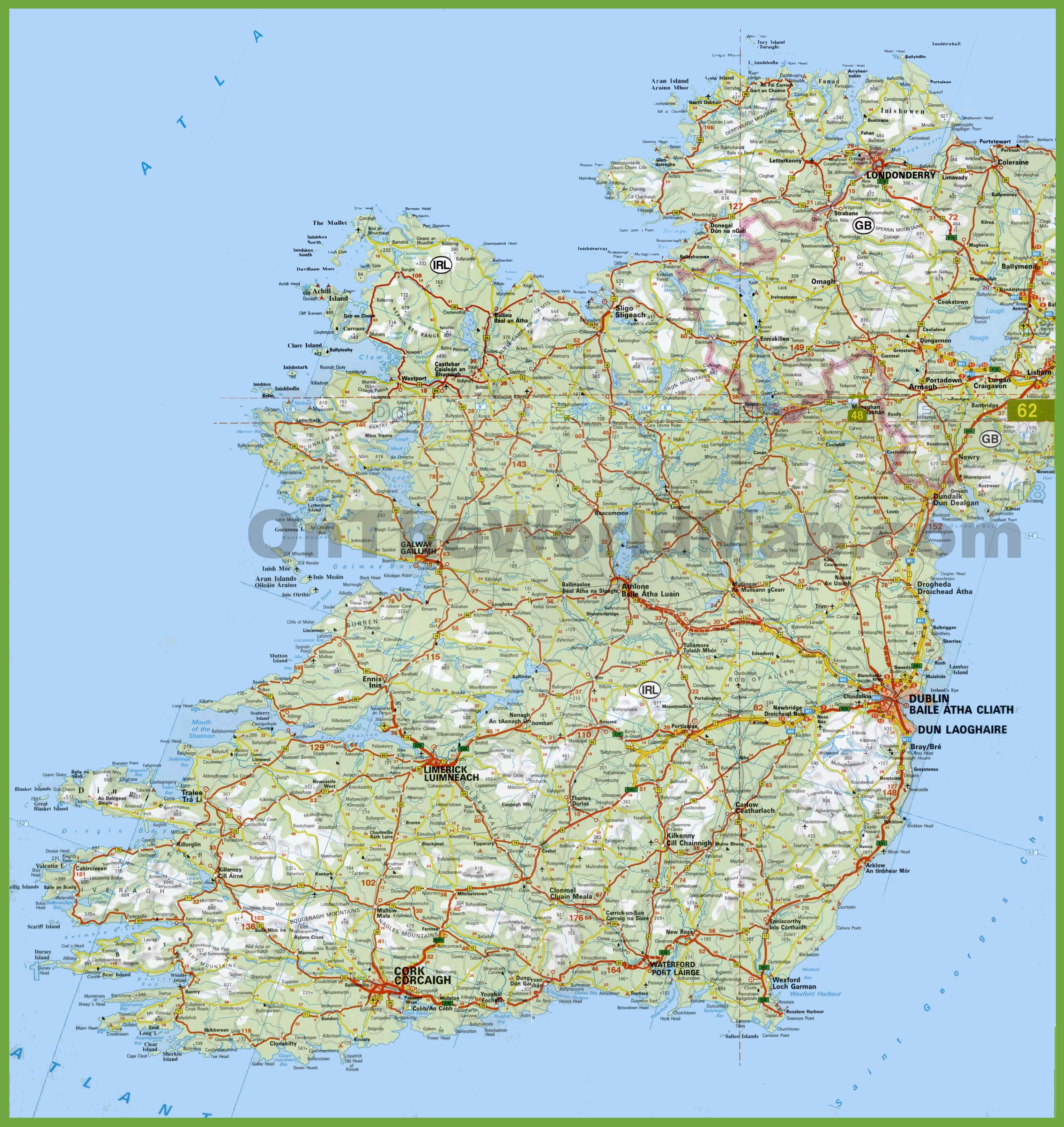 Large Detailed Map Of Ireland With Cities And Towns - Printable Map Of Ireland