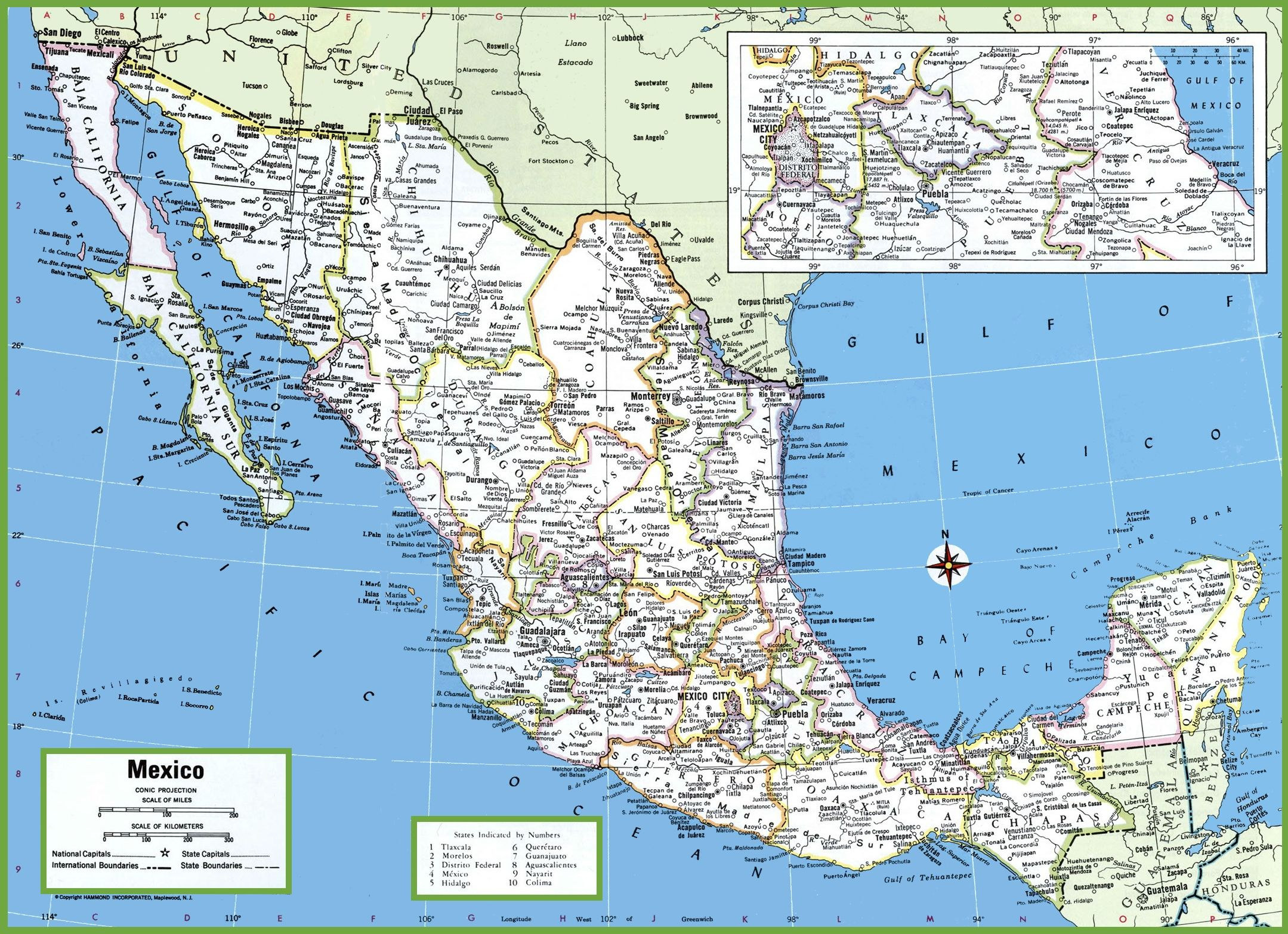 Large Detailed Map Of Mexico With Cities And Towns | Wanderlust - Printable Map Of Mexico City