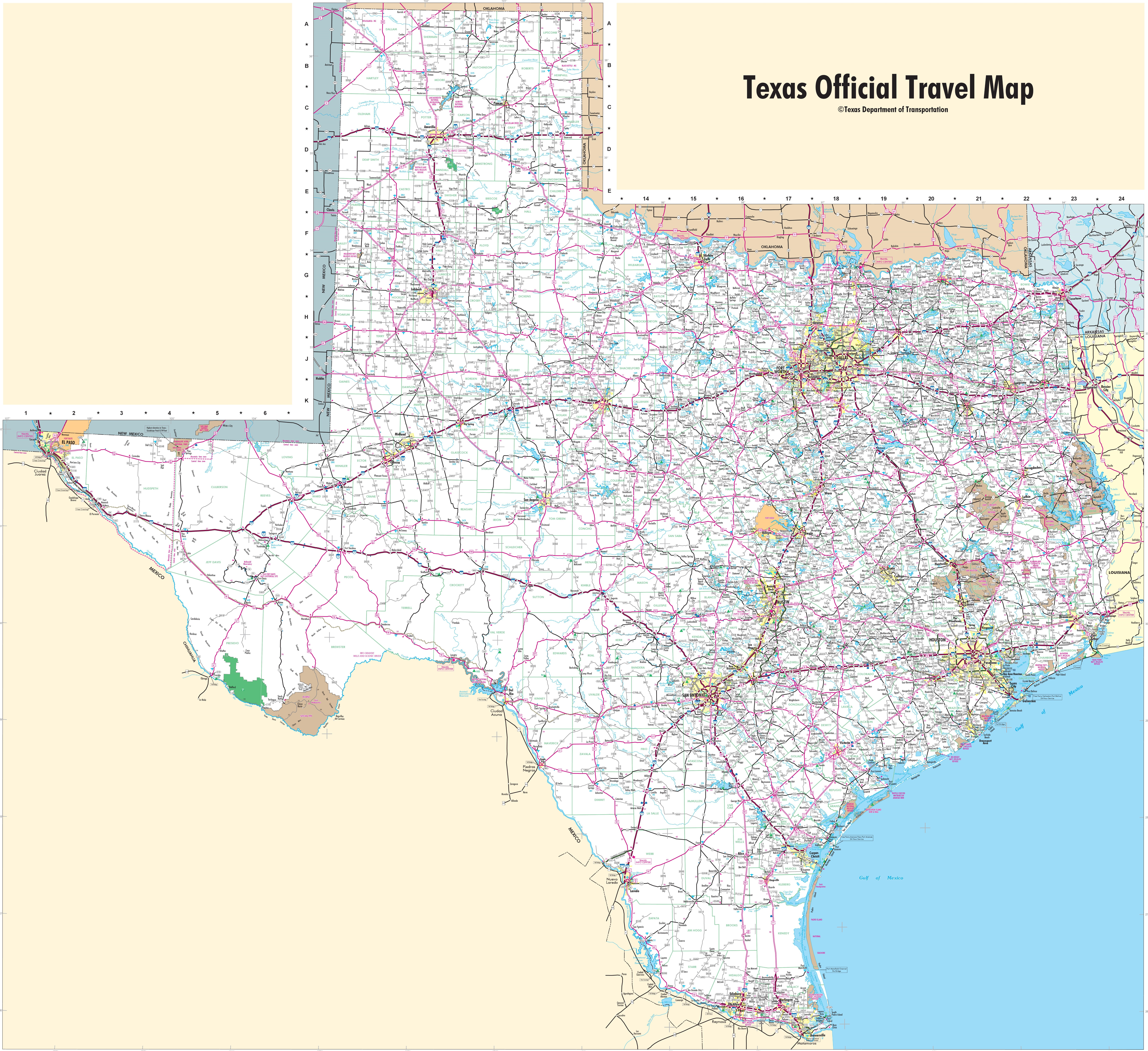 Large Detailed Map Of Texas With Cities And Towns - Detailed Road Map Of Texas