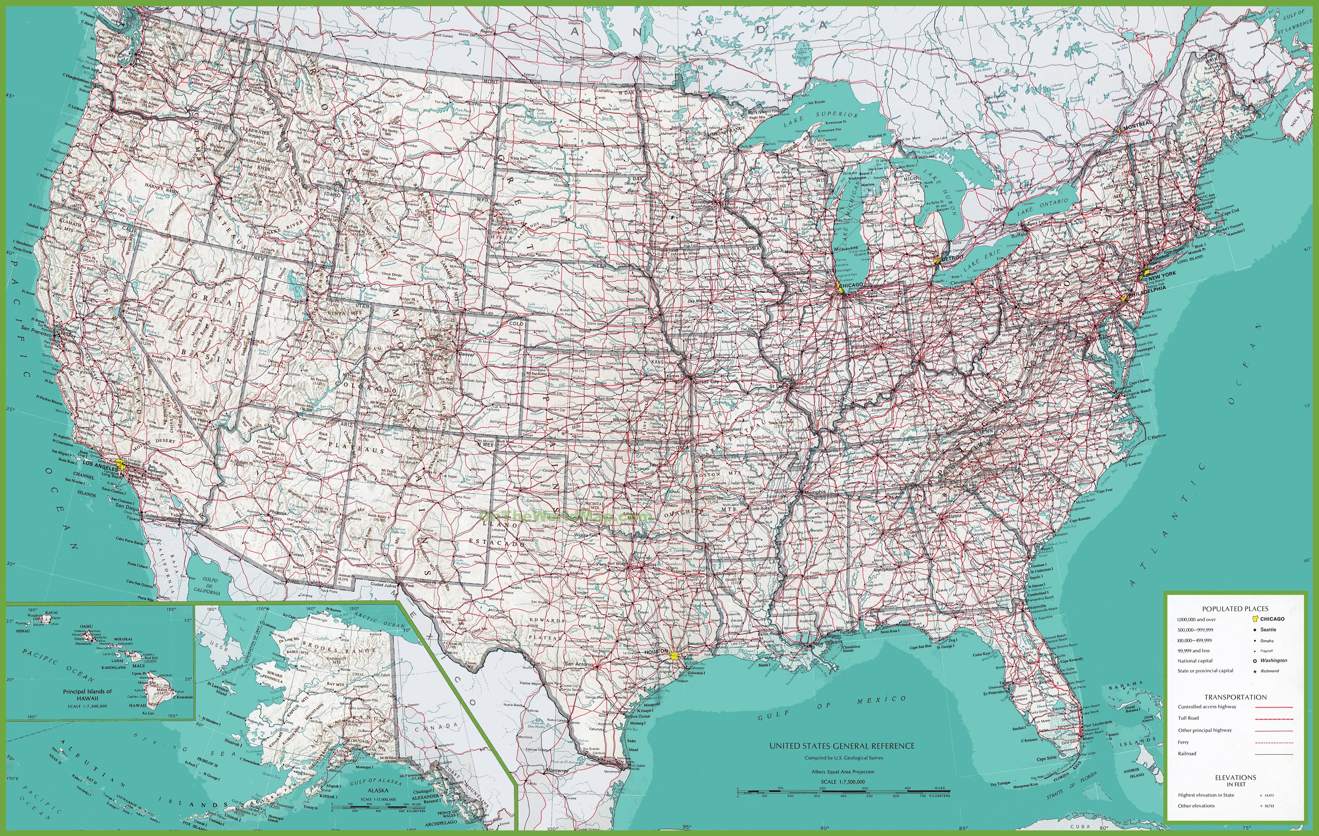 Large Detailed Map Of Usa - Large Usa Map Printable