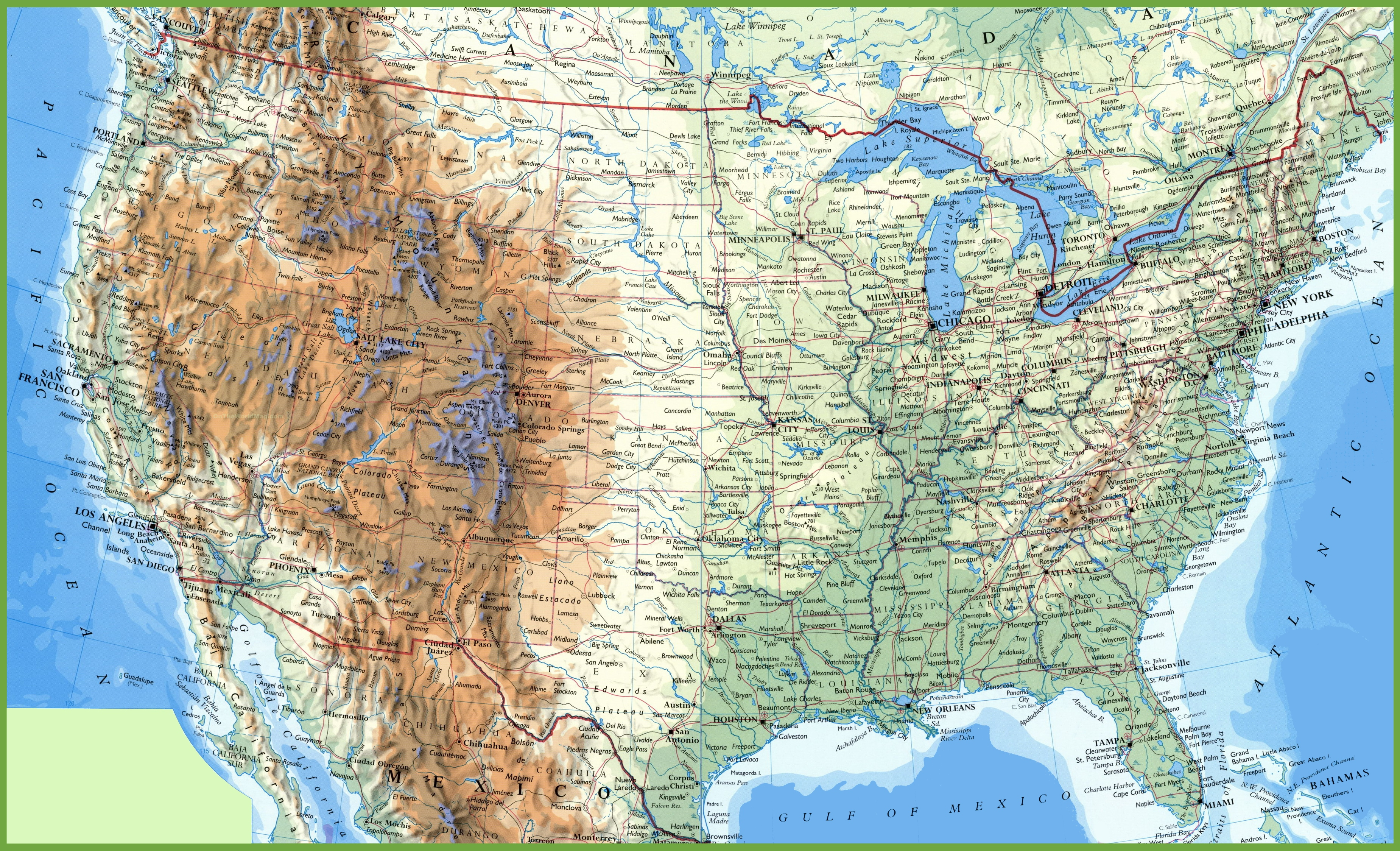 Large Detailed Map Of Usa With Cities And Towns - Printable Us Map With Cities