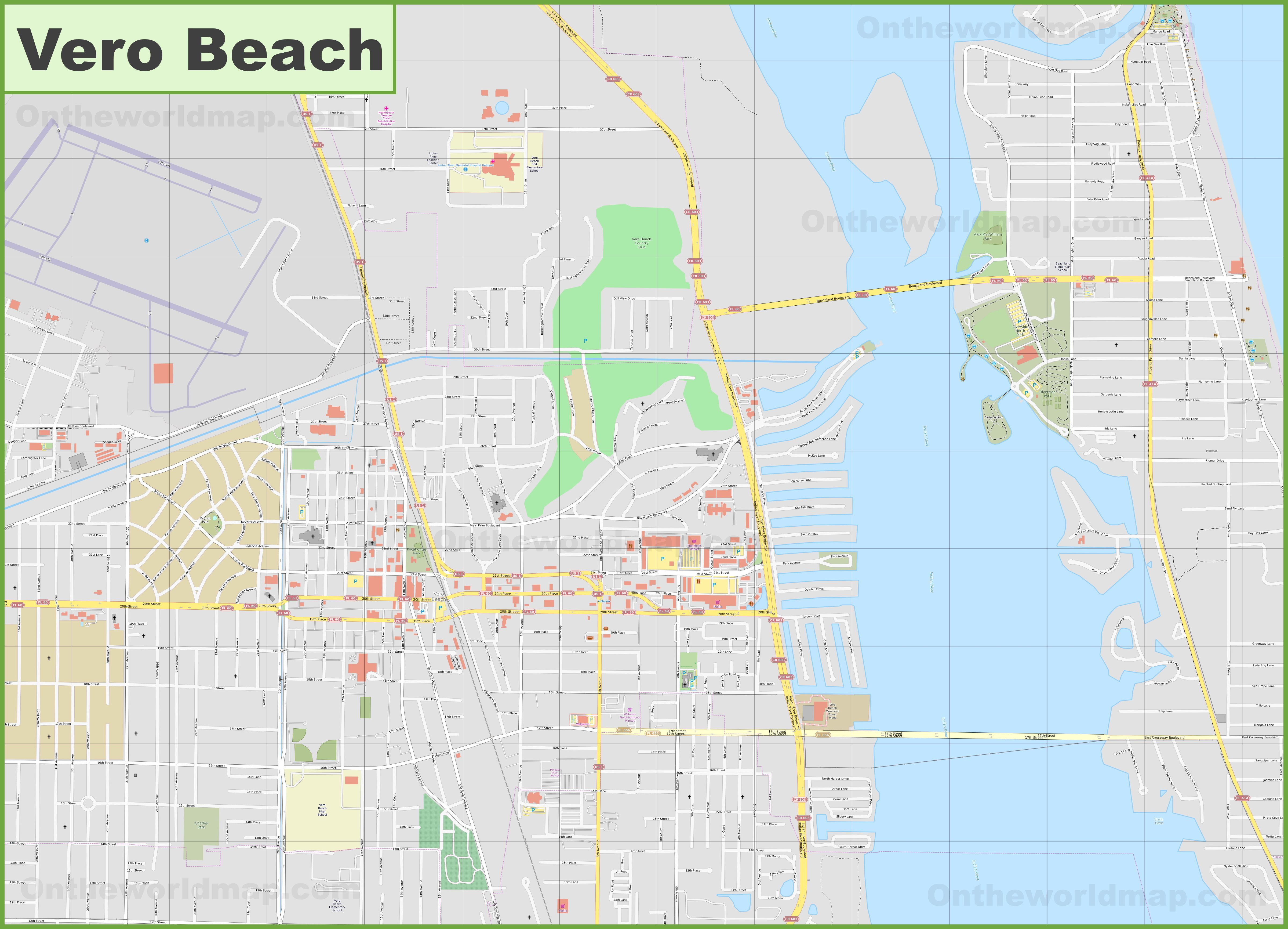 Large Detailed Map Of Vero Beach - Where Is Vero Beach Florida On The Map