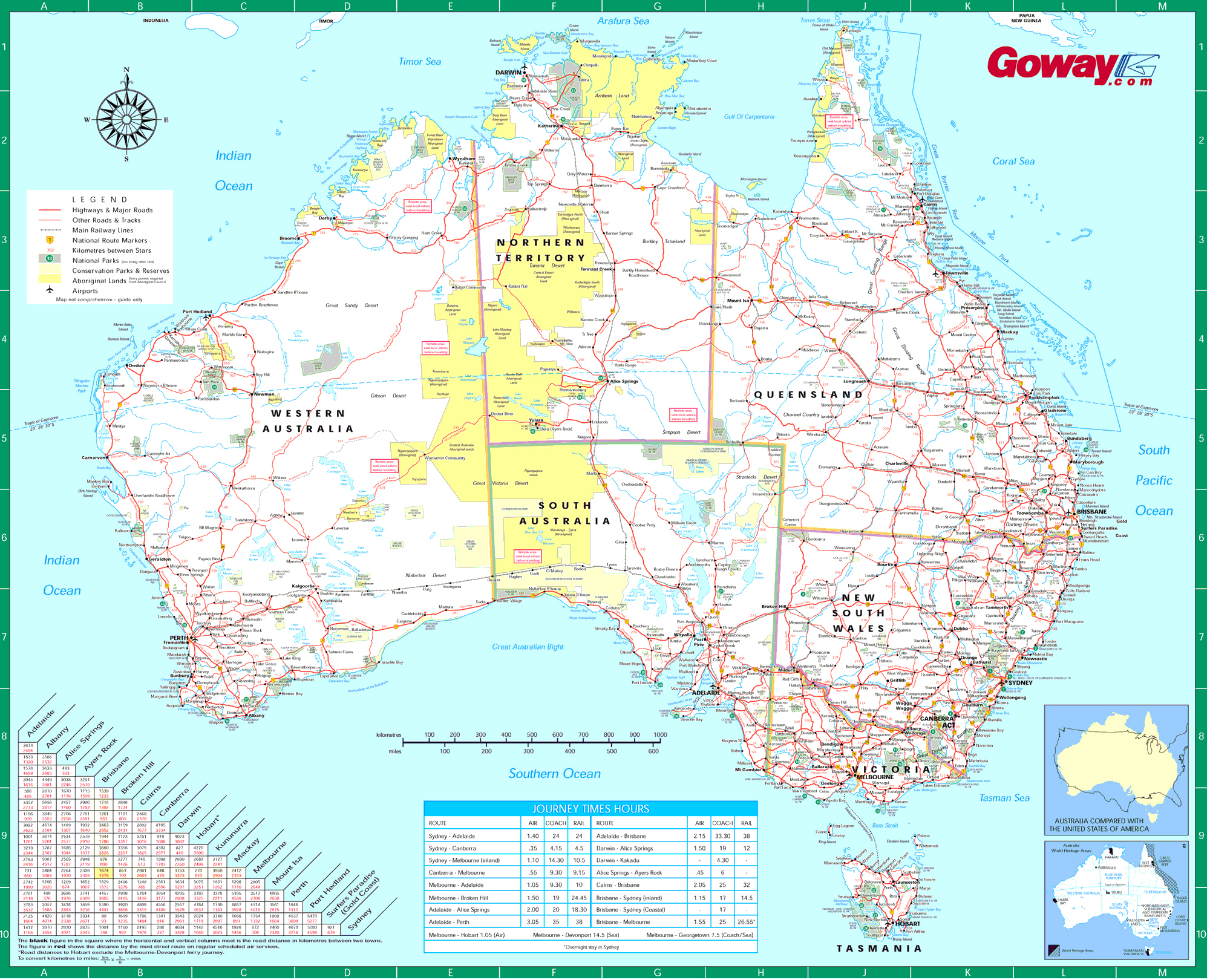 Large Detailed Road Map Of Australia. Australia Large Detailed Road - Large Printable Maps