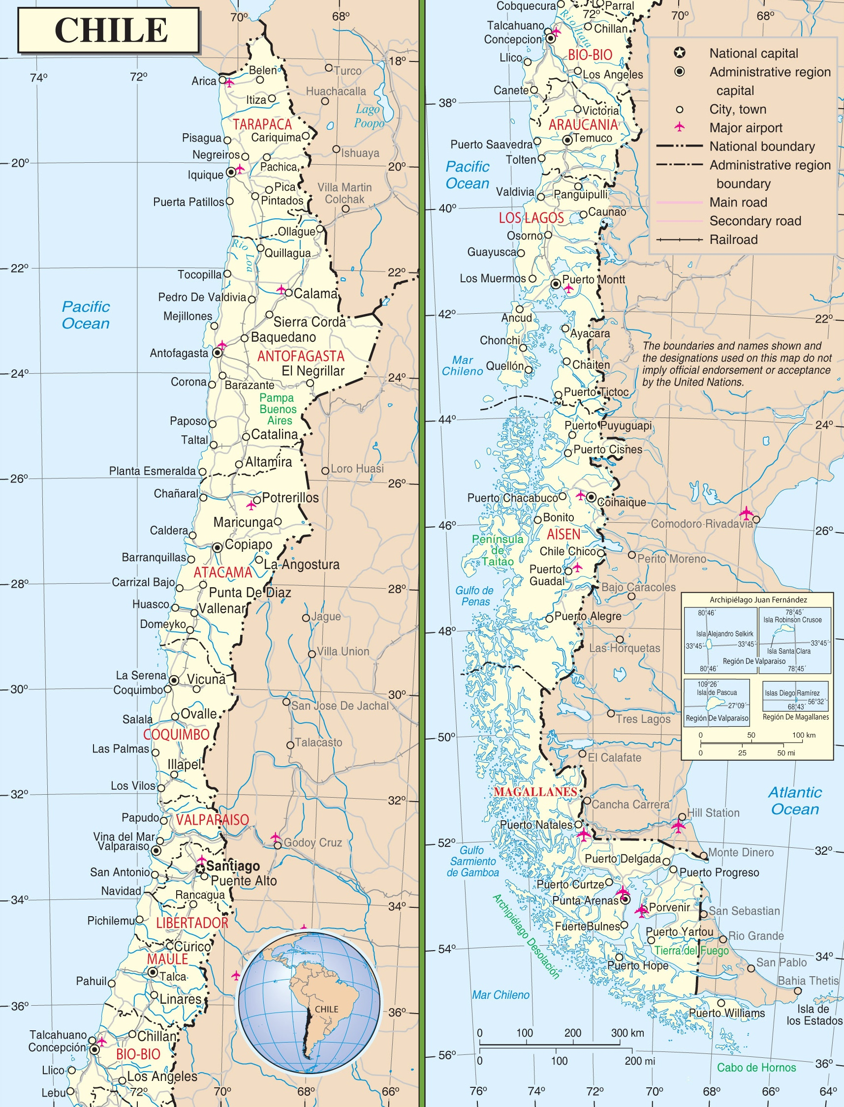 Large Detailed Road Map Of Chile - Printable Map Of Chile