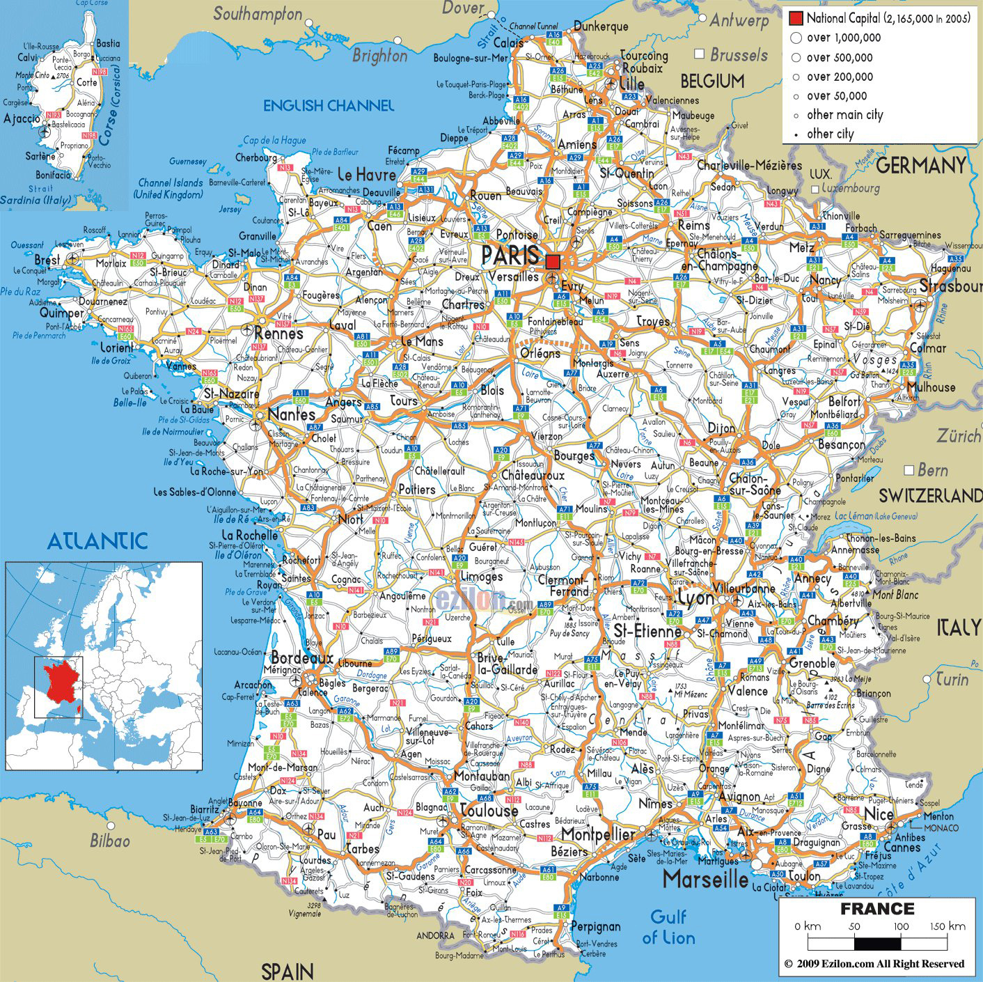 Large Detailed Road Map Of France With All Cities And Airports - Printable Driving Map Of Iceland