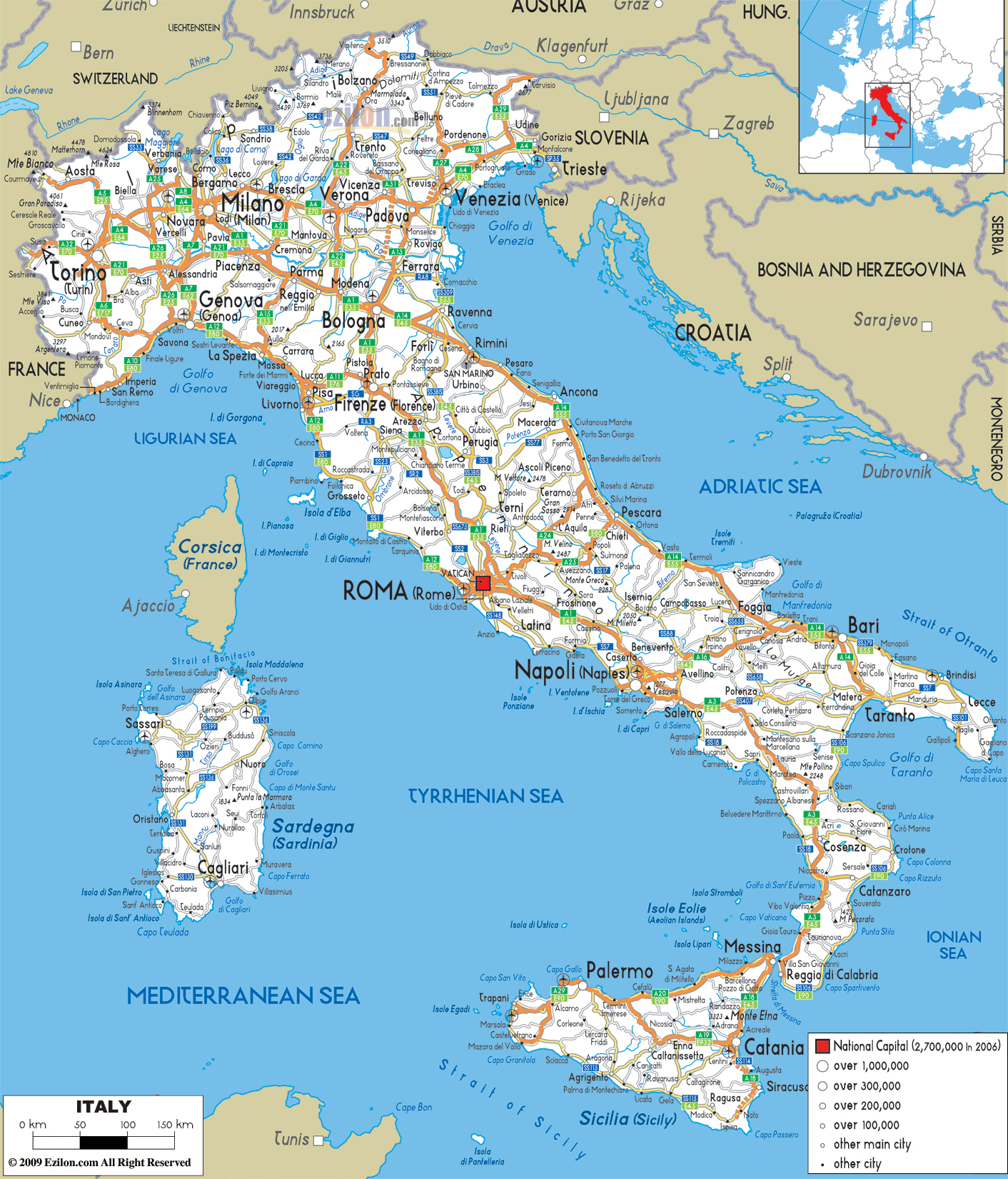 Large Detailed Road Map Of Italy With All Cities And Airports - Large Printable Maps