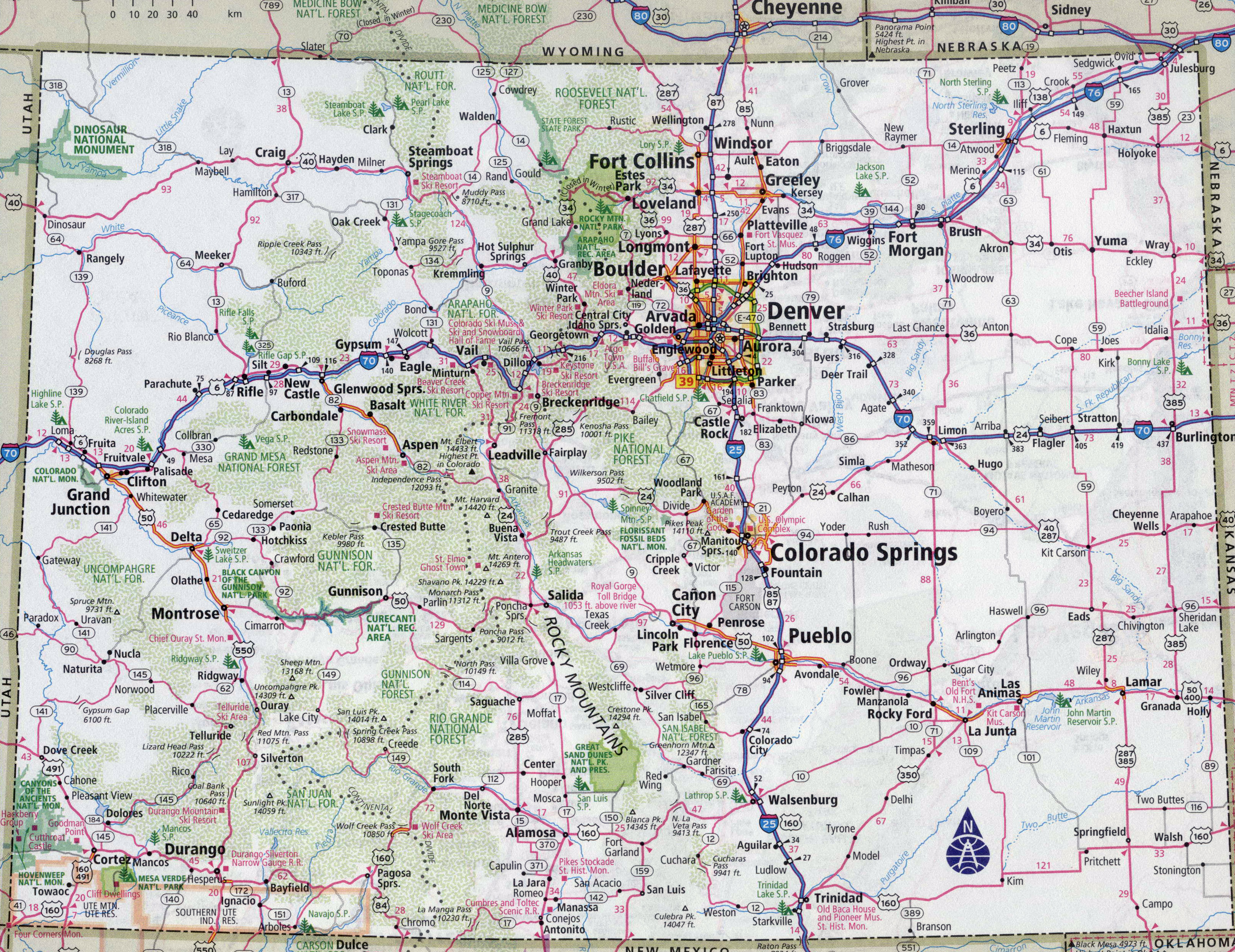 Large Detailed Roads And Highways Map Of Colorado State With All - Printable Map Of Colorado