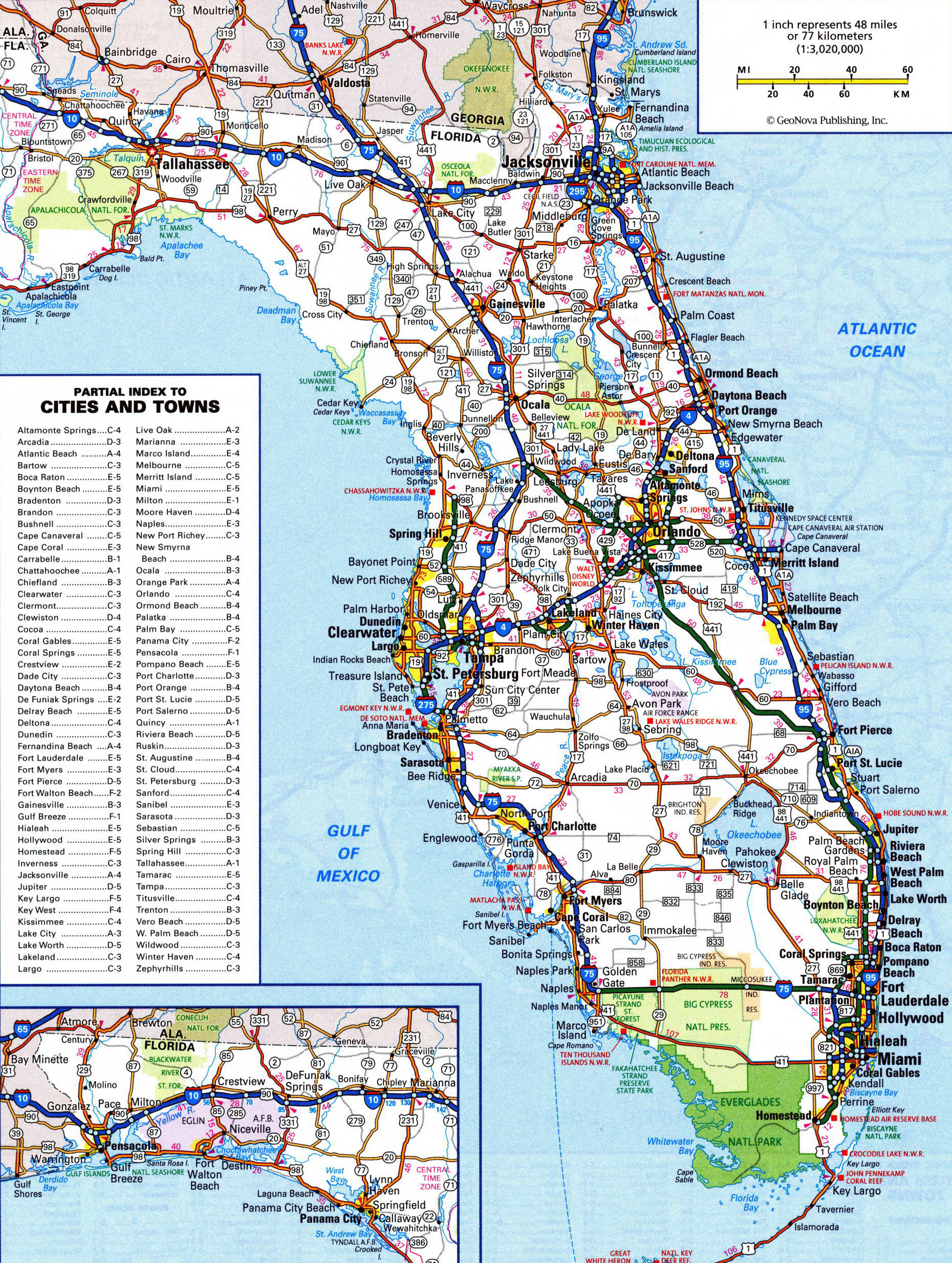 Large Detailed Roads And Highways Map Of Florida State | Vidiani - Large Map Of Florida