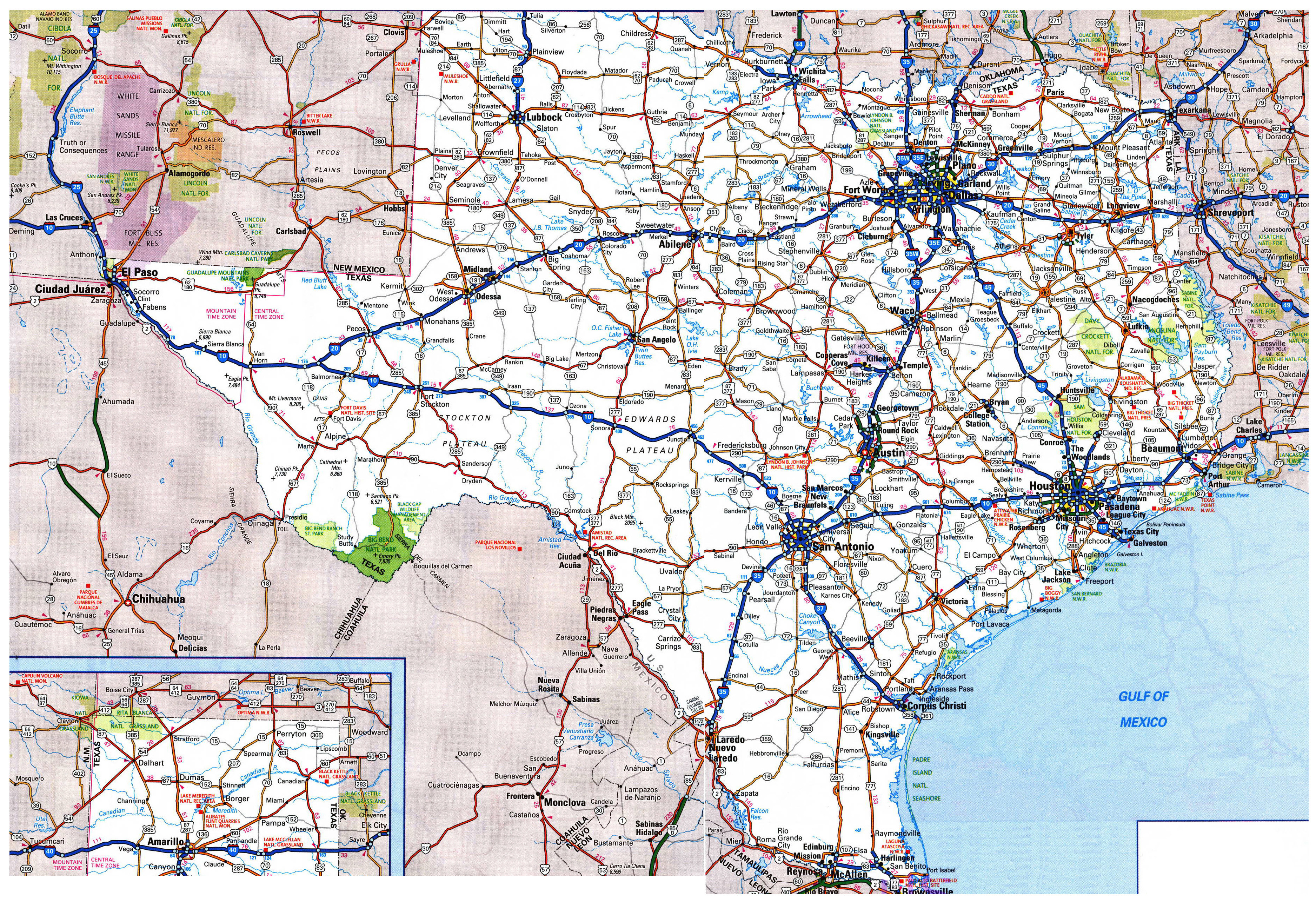 Large Detailed Roads And Highways Map Of Texas State With All Cities - Map Of Texas Roads And Cities