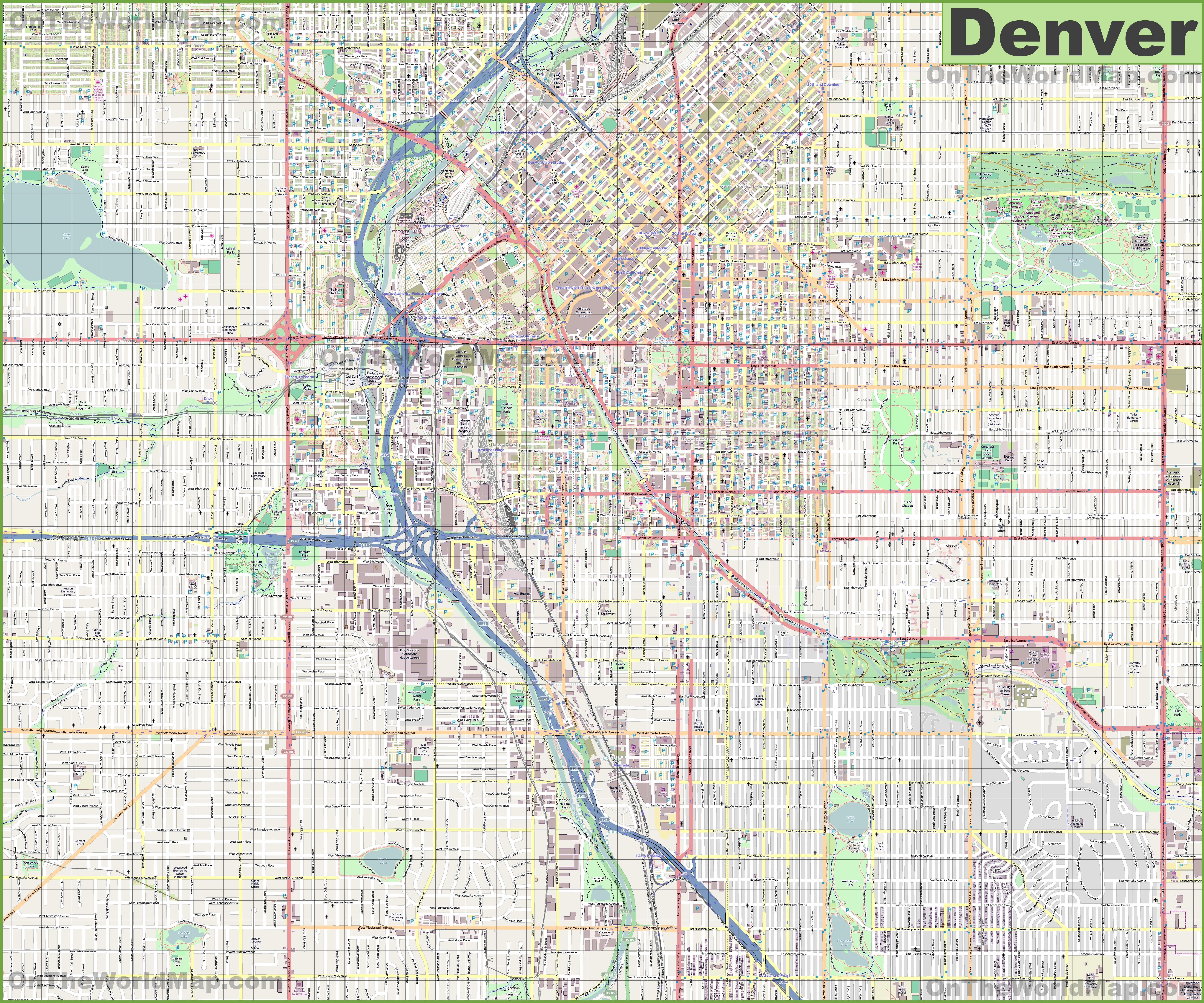 Large Detailed Street Map Of Denver - Street Map Of Englewood Florida