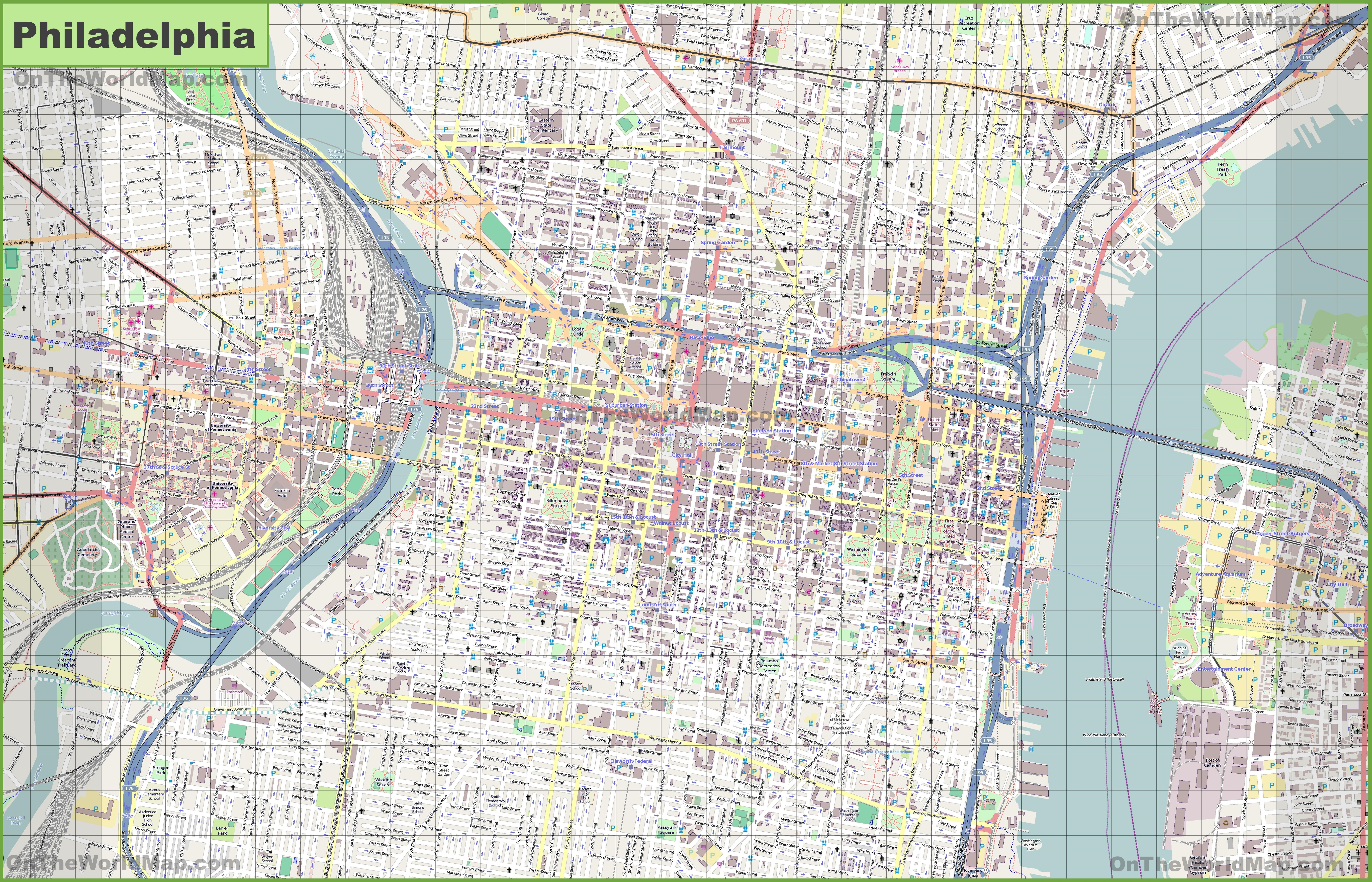 Large Detailed Street Map Of Philadelphia - Philadelphia Street Map Printable