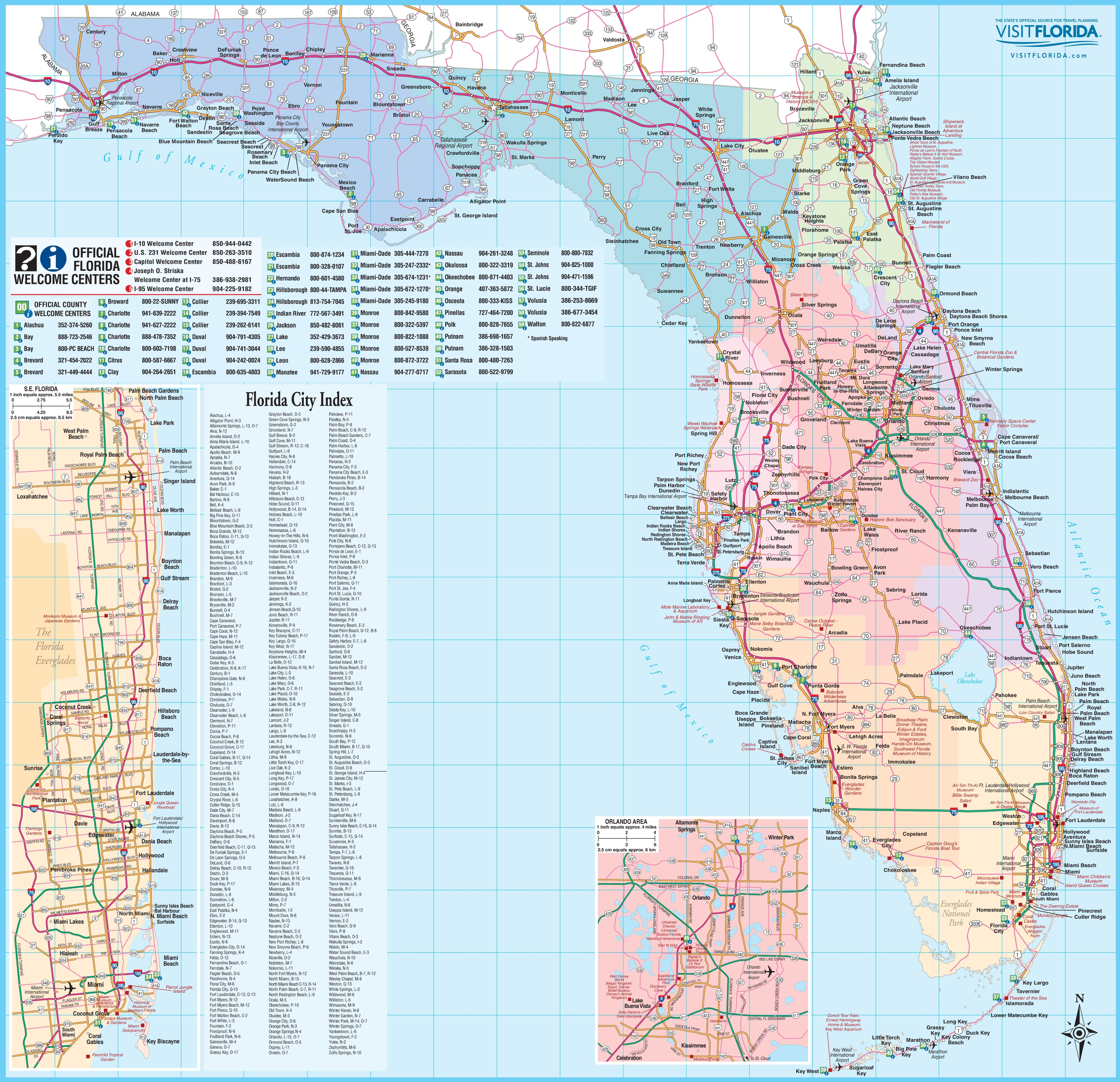 Large Detailed Tourist Map Of Florida - Road Map Of North Florida