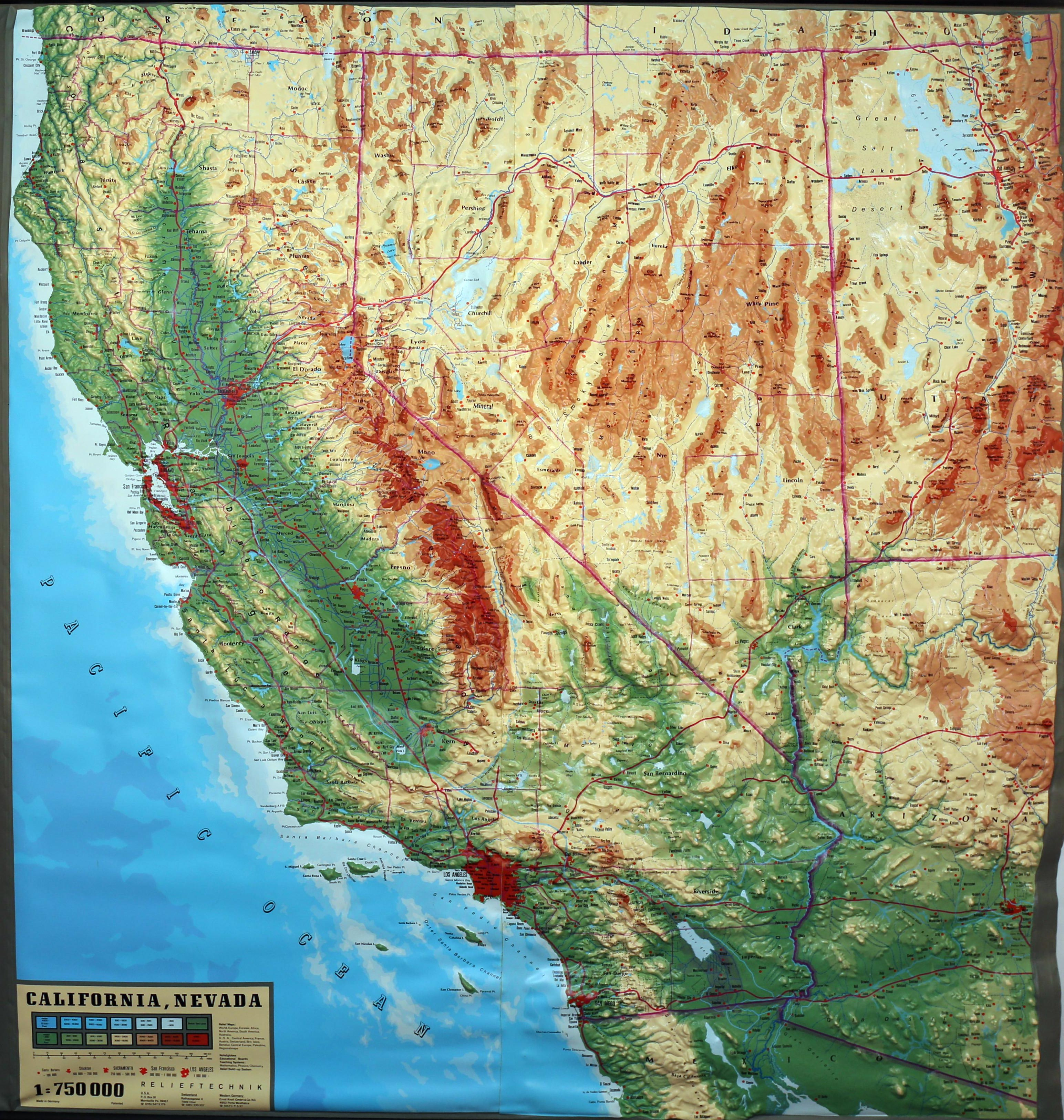 Large Extreme Raised Relief Map Of California And Nevada - California Raised Relief Map