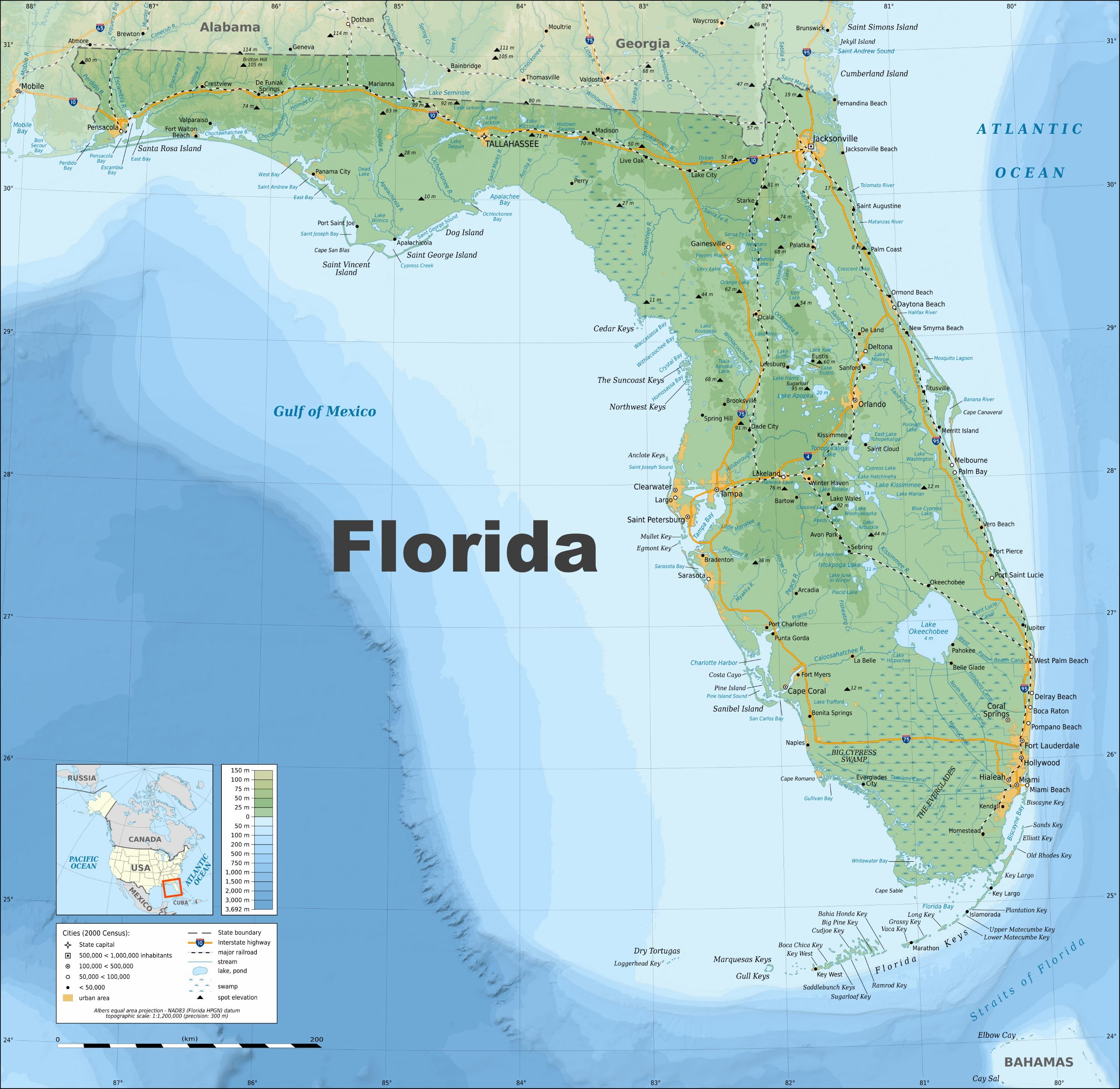 Large Florida Maps For Free Download And Print | High-Resolution And - Map Of Clearwater Florida And Surrounding Areas