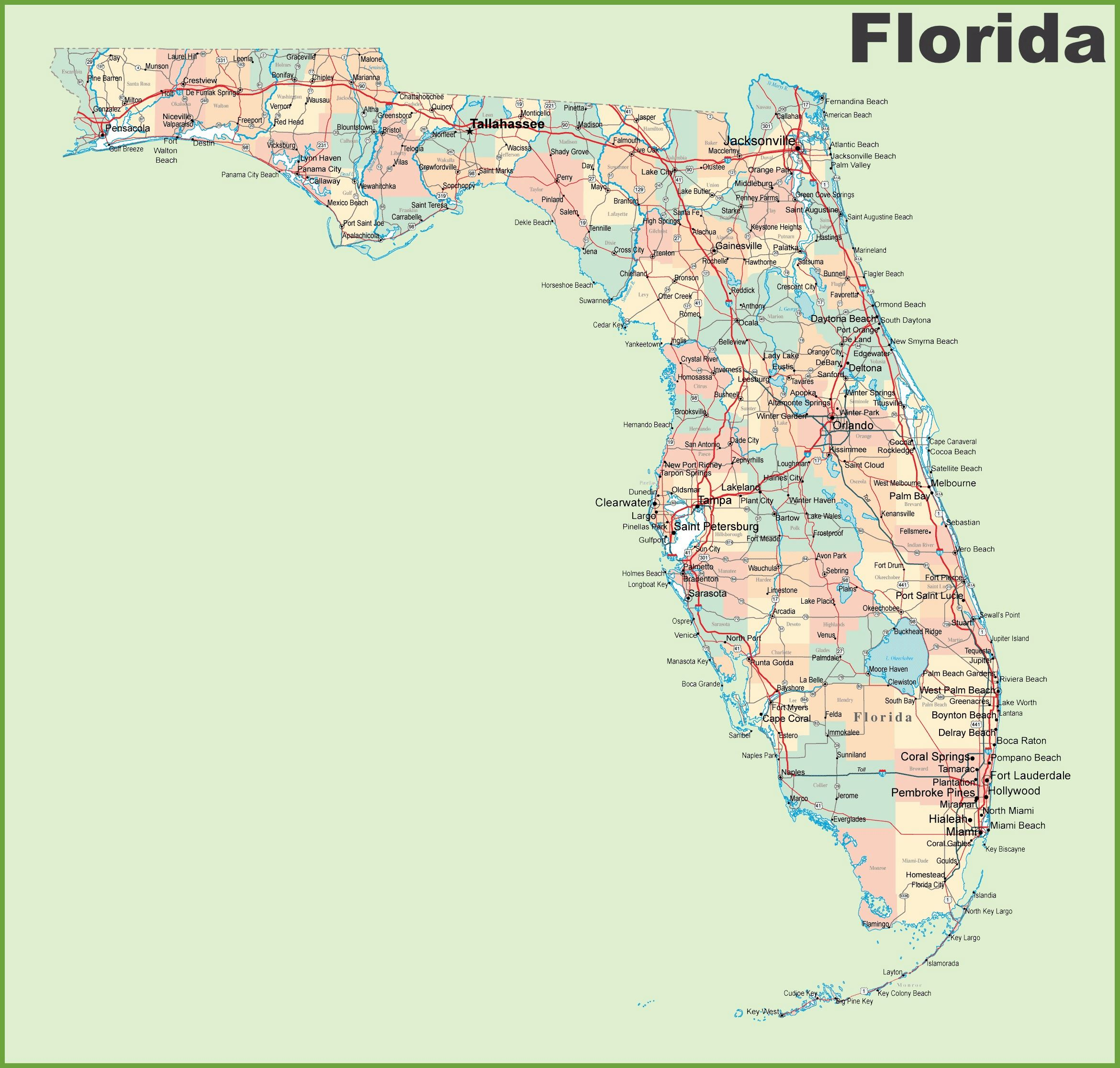 Large Florida Maps For Free Download And Print | High-Resolution And - Map Of Sw Florida Cities