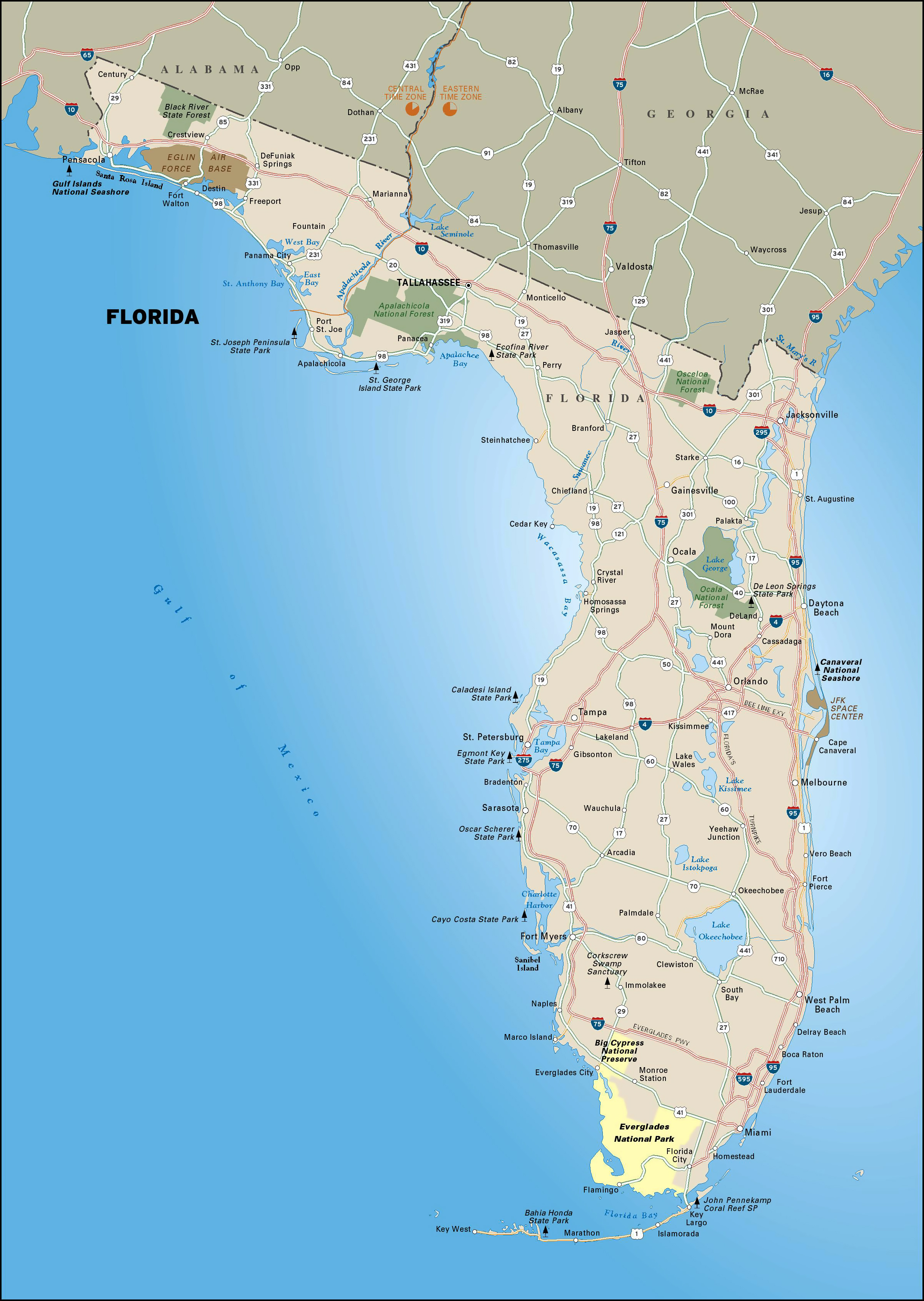 Large Highways Map Of Florida State With National Parks | Vidiani - Florida Parks Map