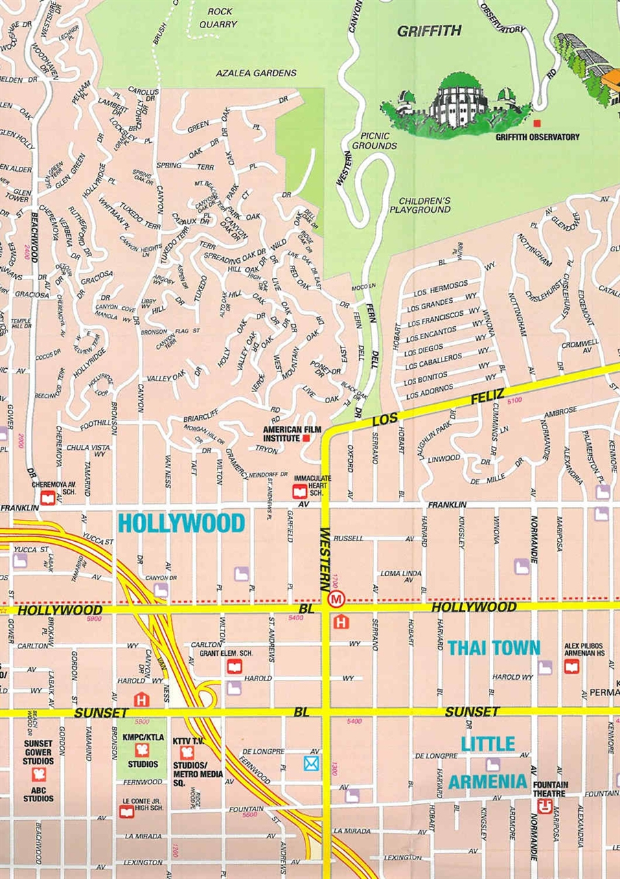Large Hollywood, Ca Maps For Free Download And Print | High - Map Of West Hollywood California