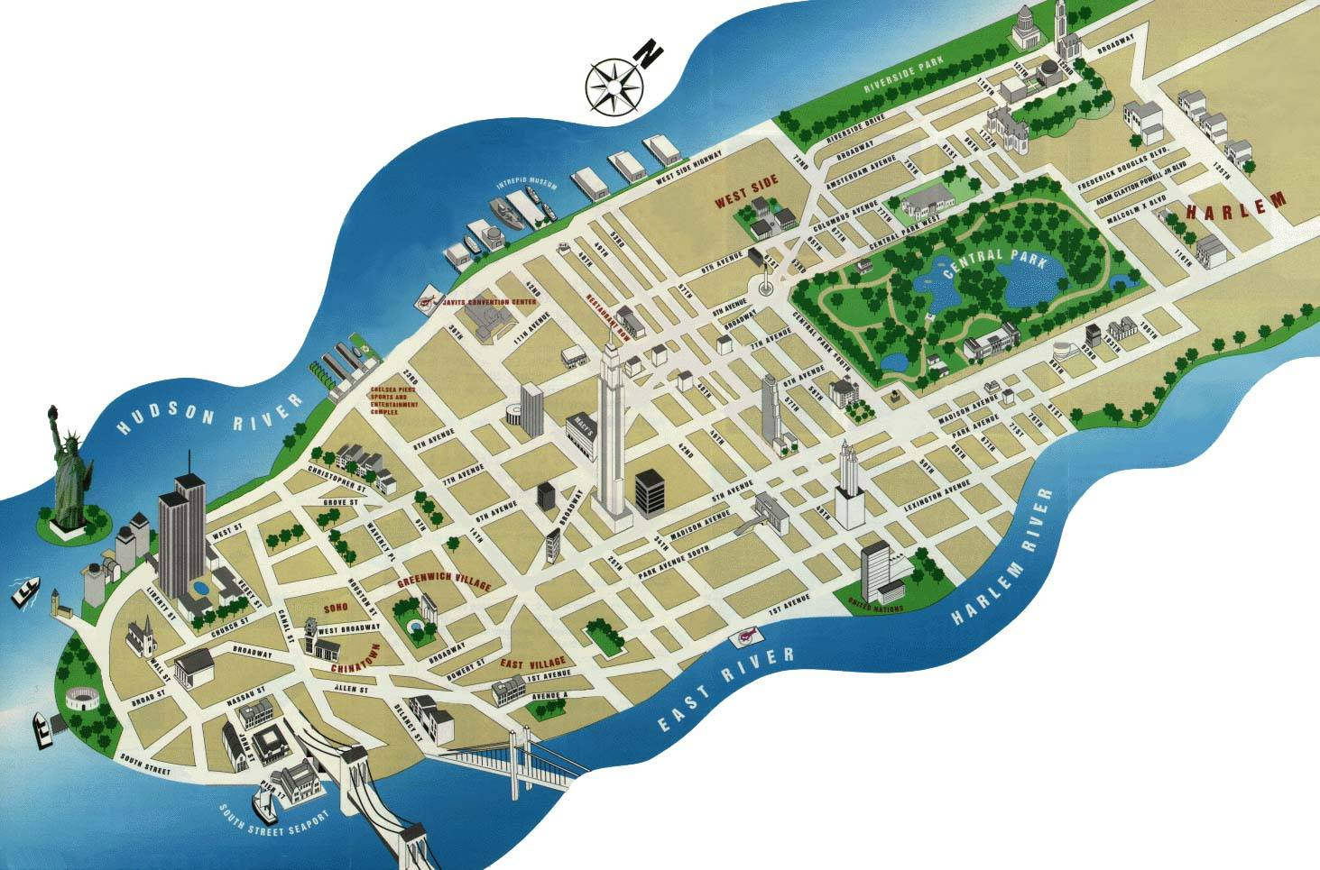 Large Manhattan Maps For Free Download And Print   High-Resolution - Printable Map Of Manhattan Pdf