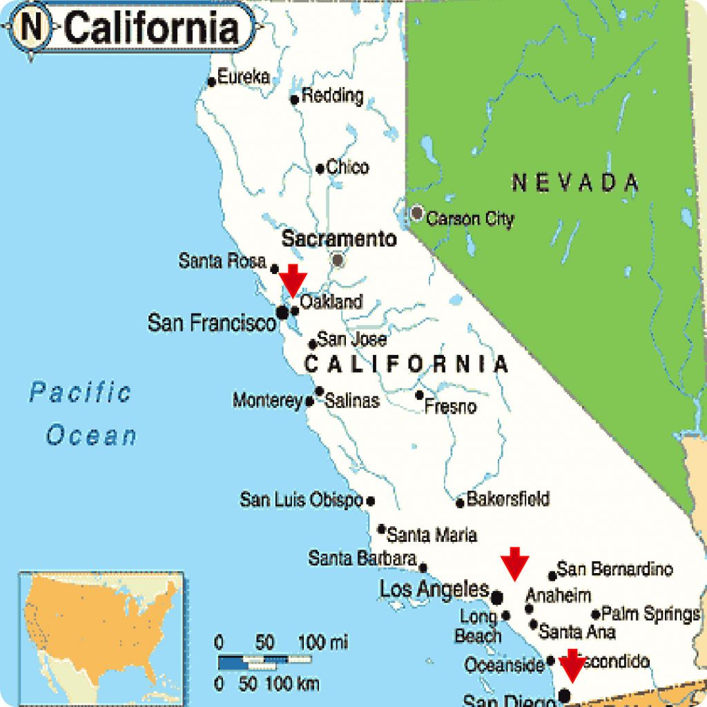 Large Map Of California Cities - Ettcarworld - Map Of California Cities