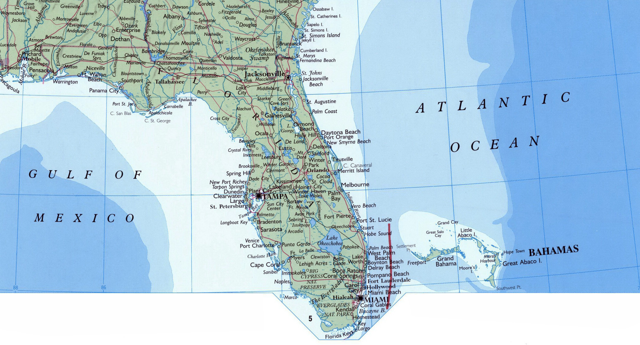 Large Map Of Florida State With Roads, Highways And Cities | Florida - Large Map Of Florida