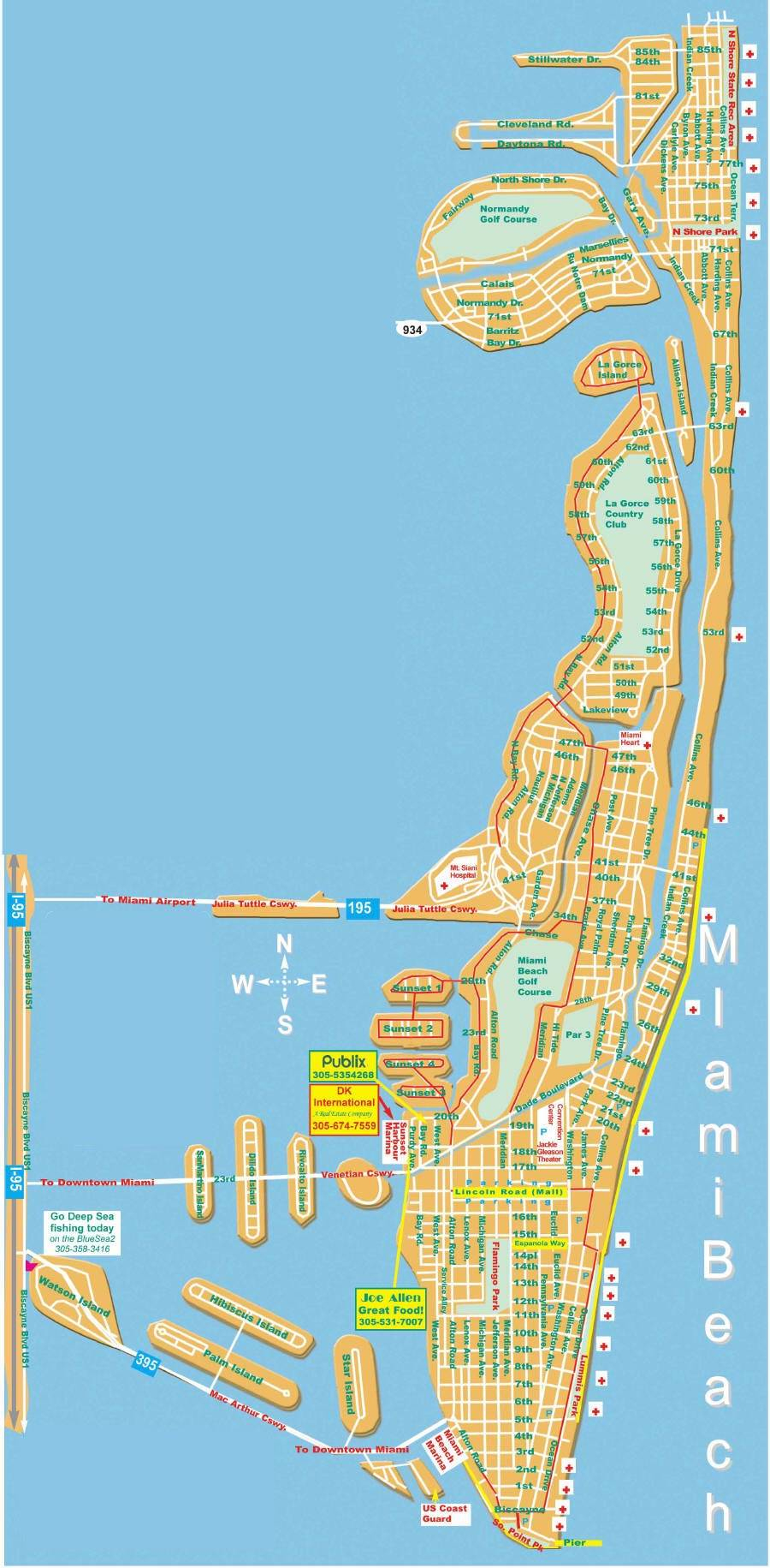 Large Miami Beach Maps For Free Download | High-Resolution And - Miami City Map Printable