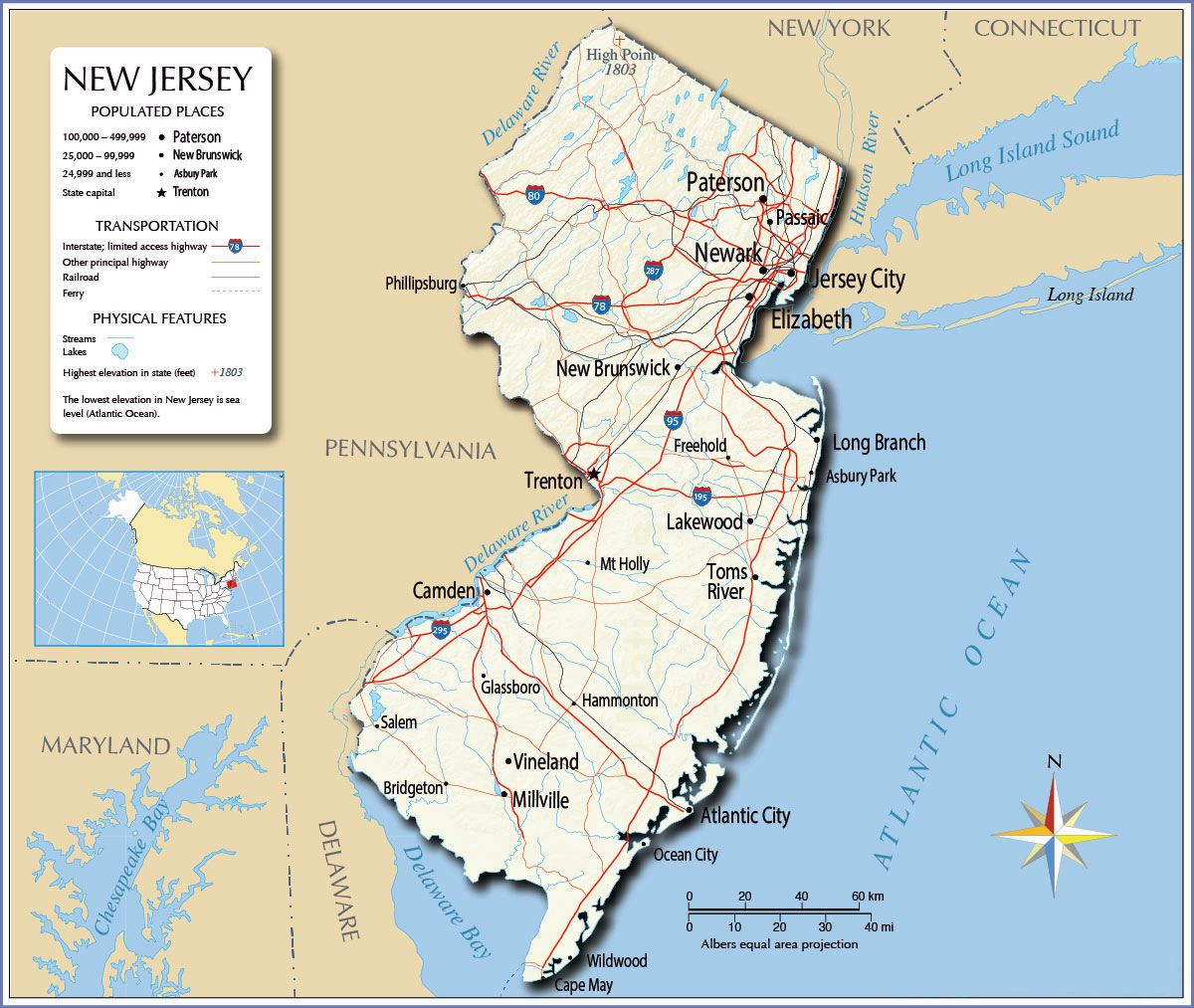 Large New Jersey State Maps For Free Download And Print | High - Printable Street Map Of Jersey City Nj
