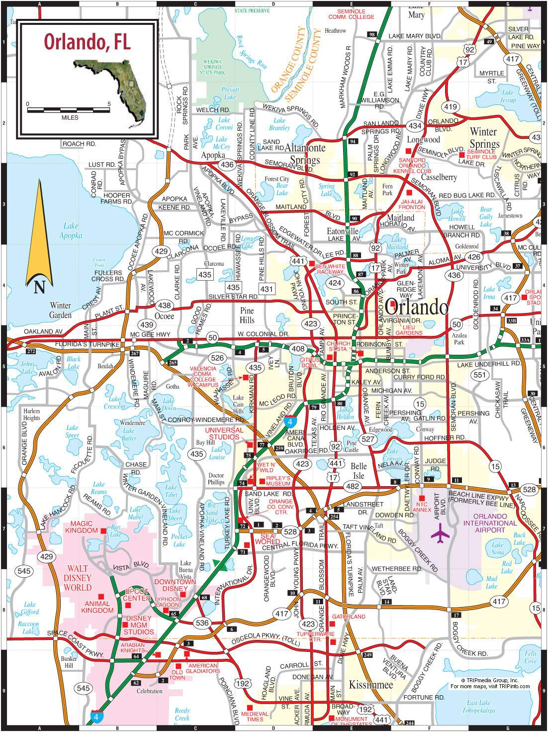 Large Orlando Maps For Free Download And Print | High-Resolution And - Road Map Of Orlando Florida
