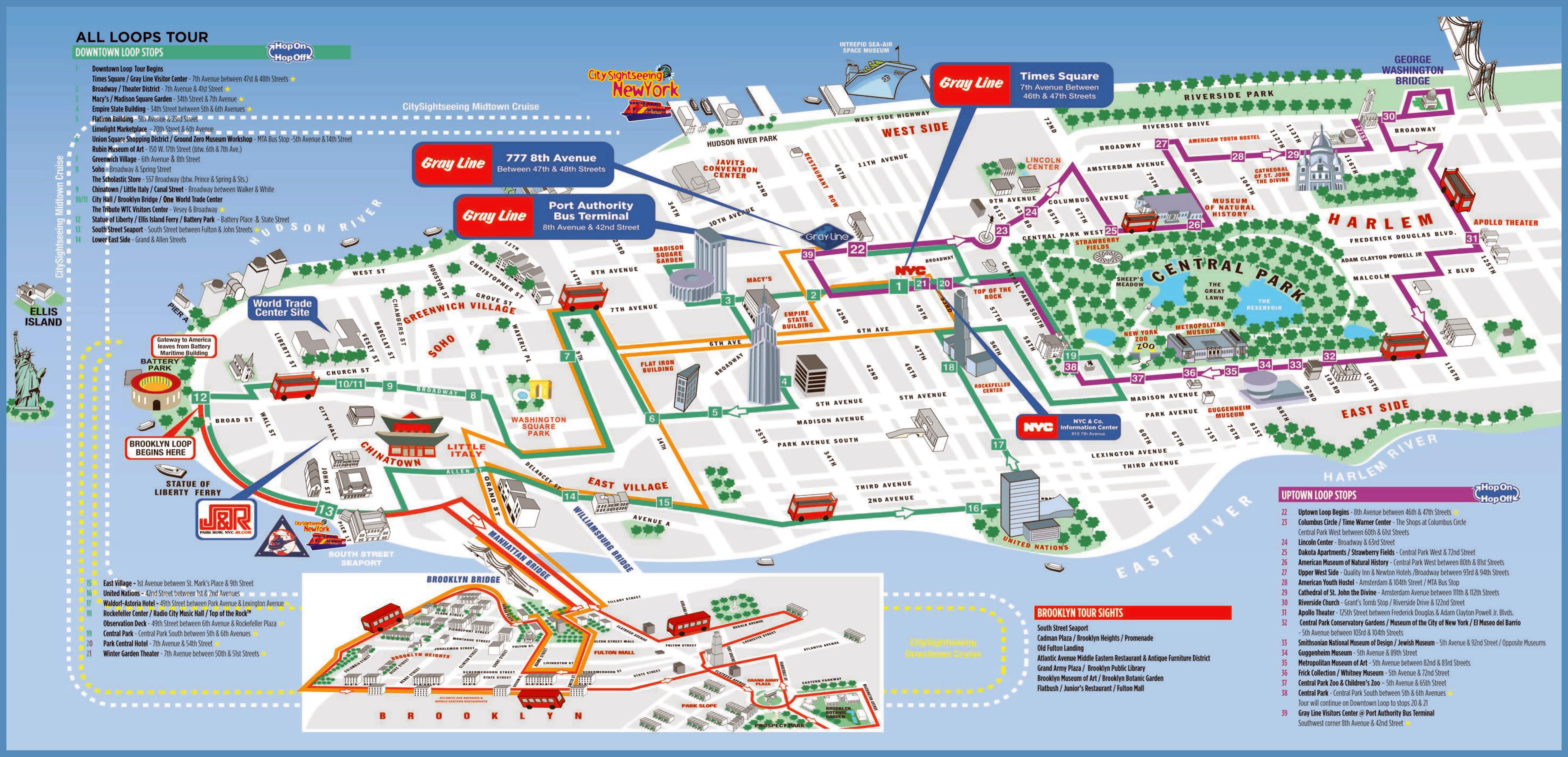 Large Printable Tourist Attractions Map Of Manhattan, New York City - Printable Street Map Of Manhattan