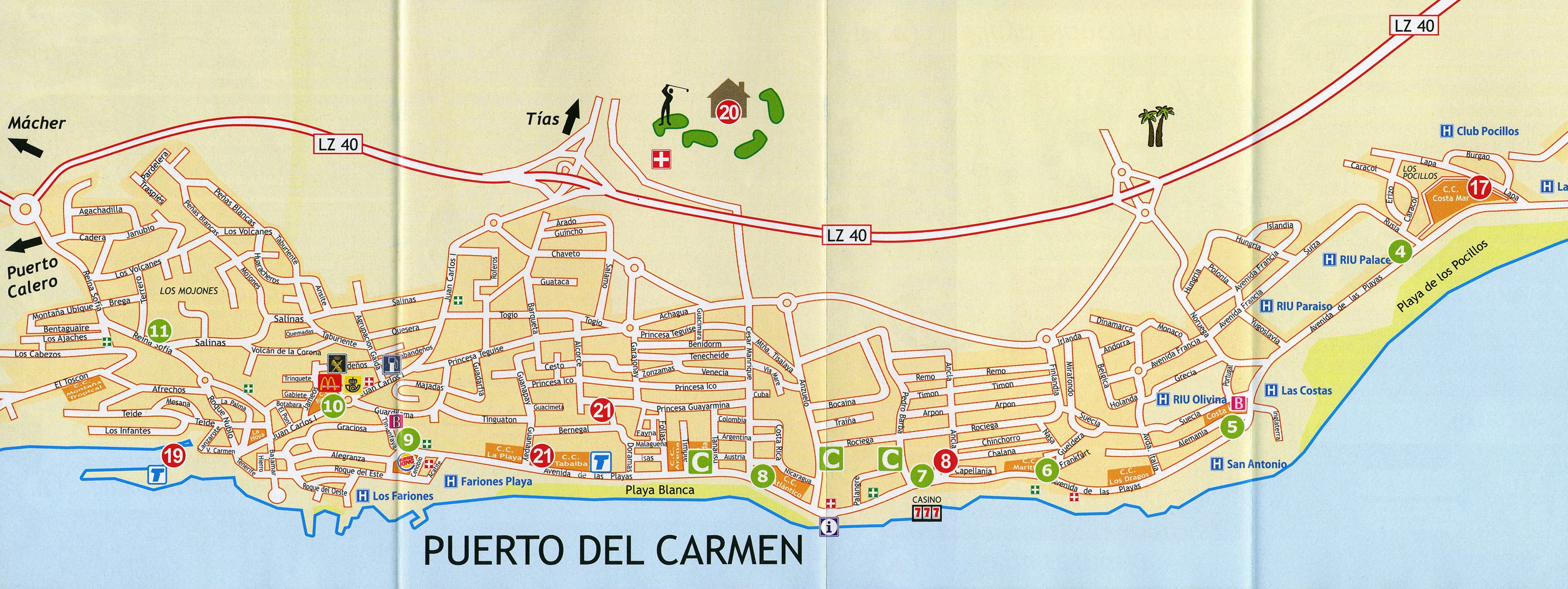 Large Puerto Del Carmen Maps For Free Download And Print | High - Printable Map Of Playa Del Carmen
